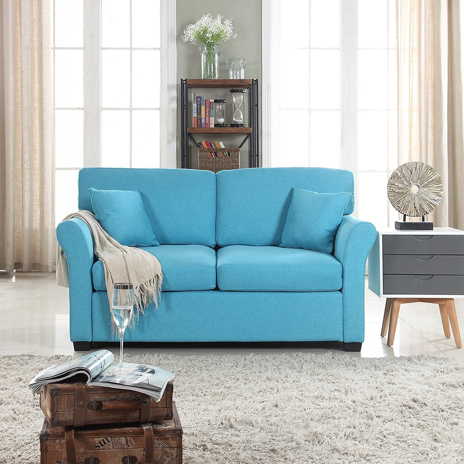 Details about Comfortable Fabric Loveseat Sofa for Small Living Room, Linen  Couch Blue