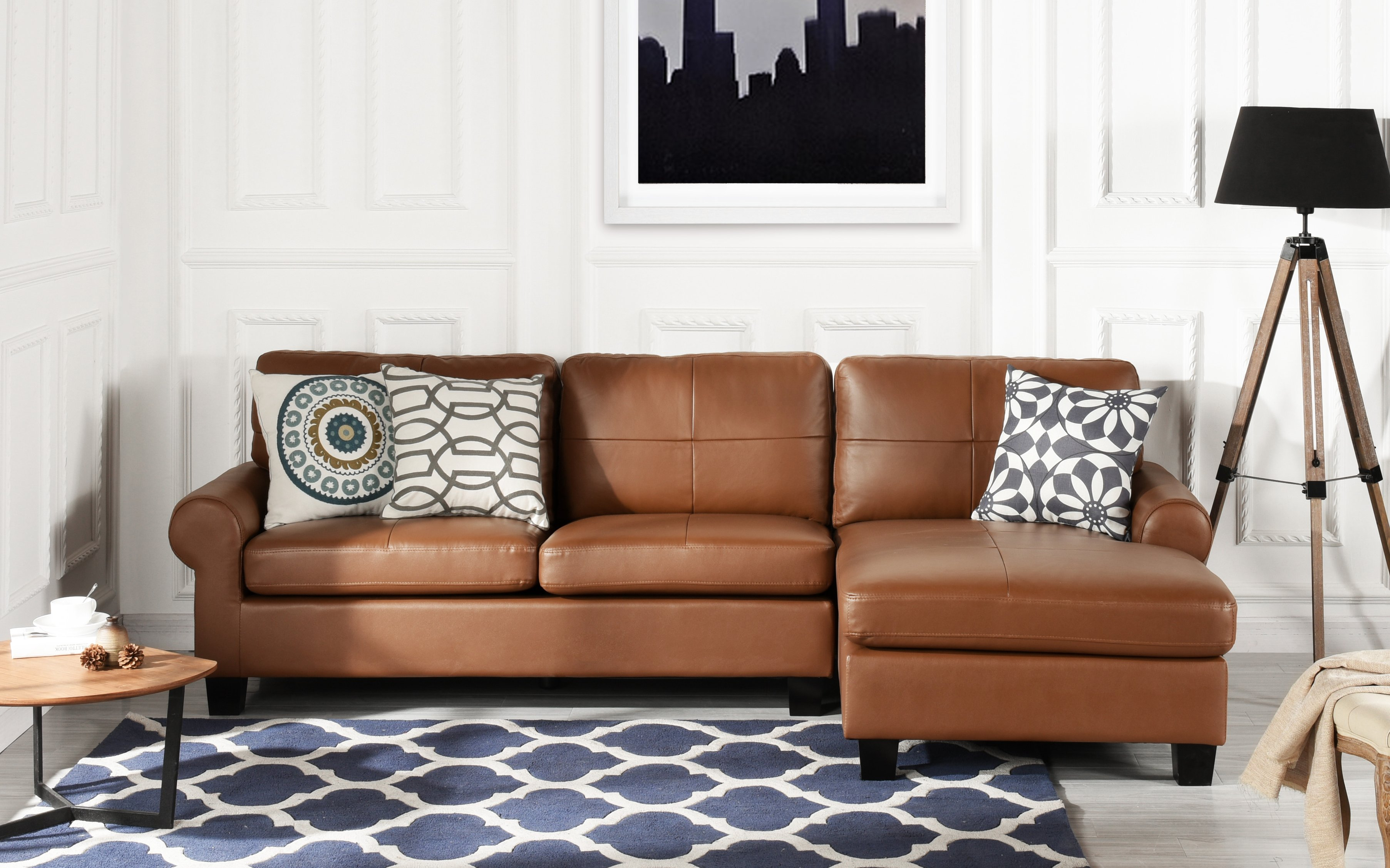 Phenomenal Details About Leather Match Light Brown Sectional Sofa L Shape Modern Couch Removable Cushions Andrewgaddart Wooden Chair Designs For Living Room Andrewgaddartcom