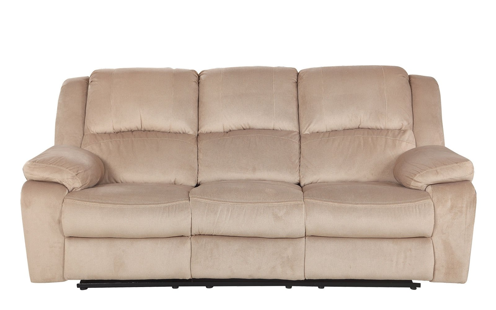 Details About Double Recliner Sofa Living Room Microfiber Reclining 3 Seater Beige