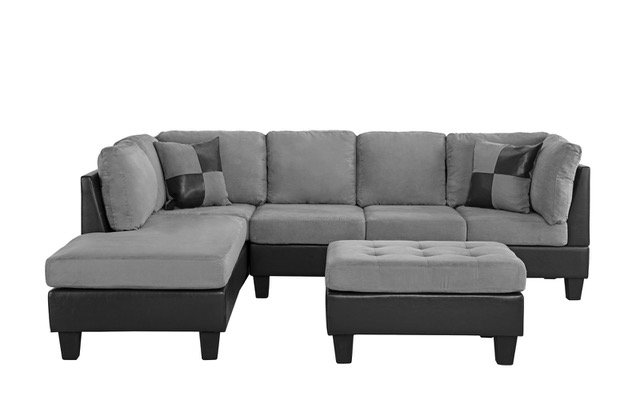 Details about 3-PC Living Room Set Microfiber Faux Leather Sectional Sofa,  Reversible, Grey