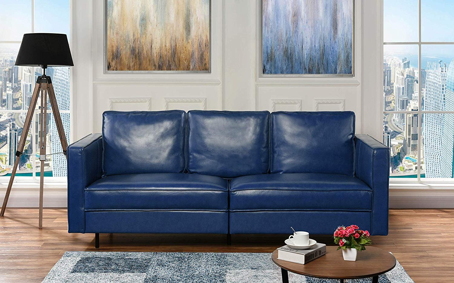 Etonnant Details About Mid Century Leather Match Living Room Sofa, Modern Hardwood  Frame Couch (Blue)