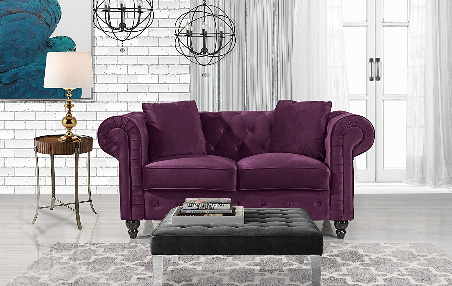 Modern tufted chesterfield scroll arm velvet love seat sofa with