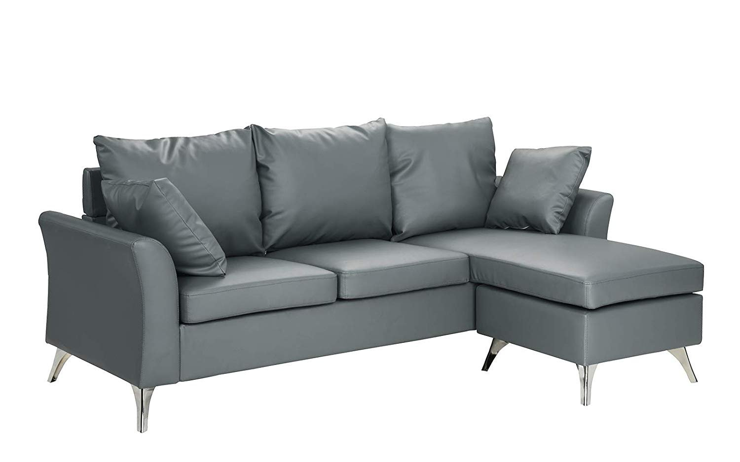 Details about Modern PU Leather Sectional Sofa, Configurable Small Space  Couch, Light Grey