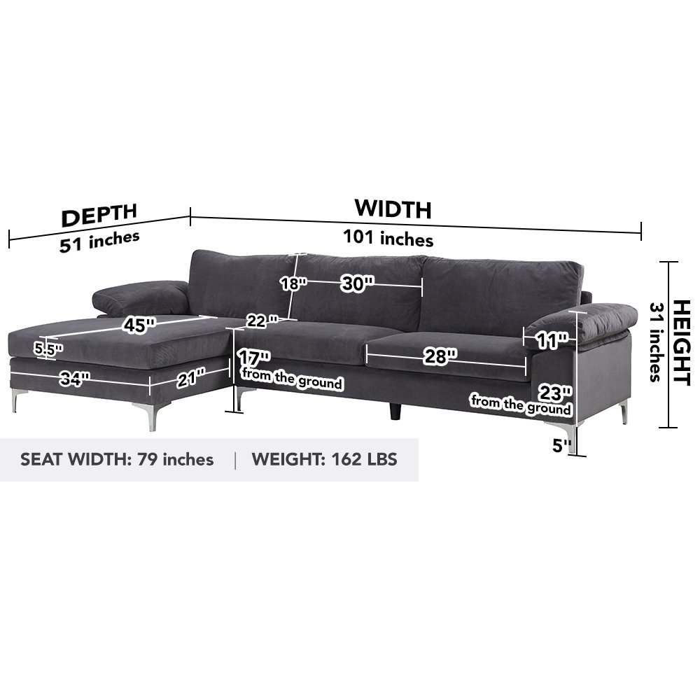 Modern Large Velvet Fabric Sectional Sofa, L-Shape Couch ...