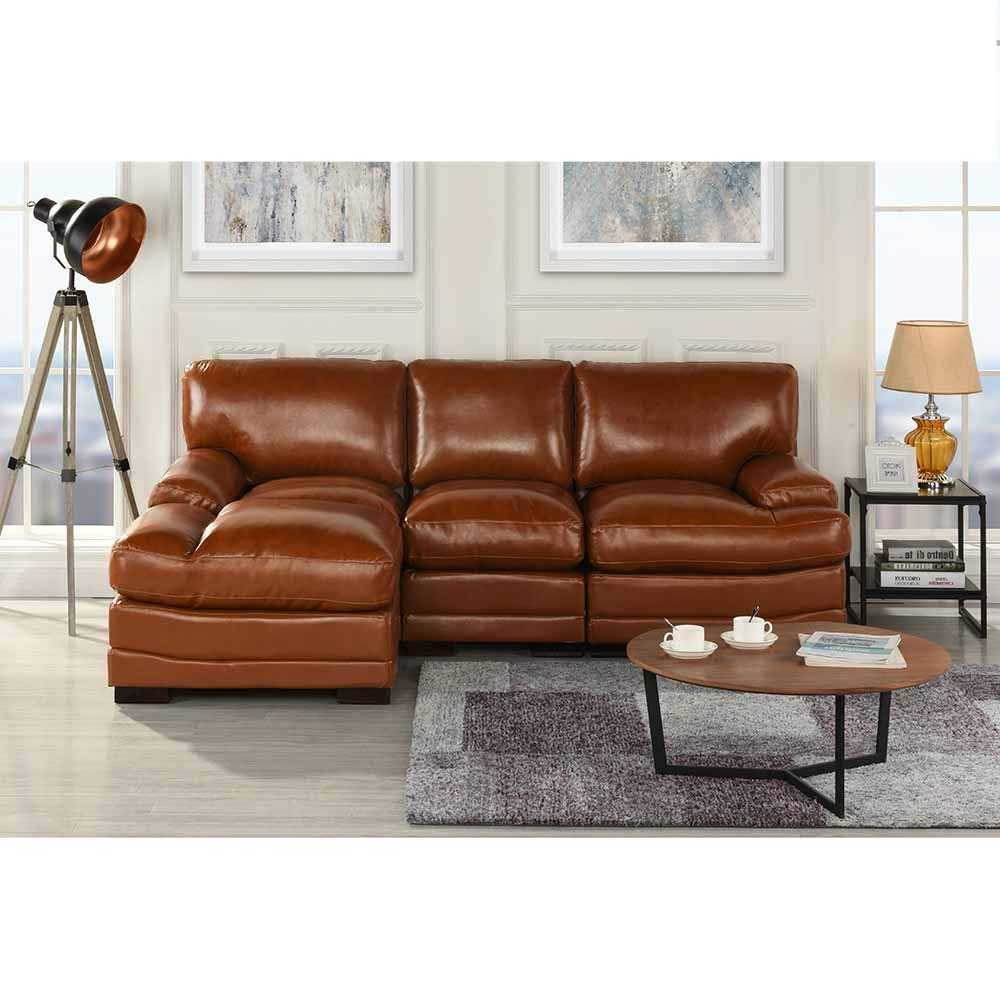 Light Brown Leather Match Sectional Sofa LShape Modern ...