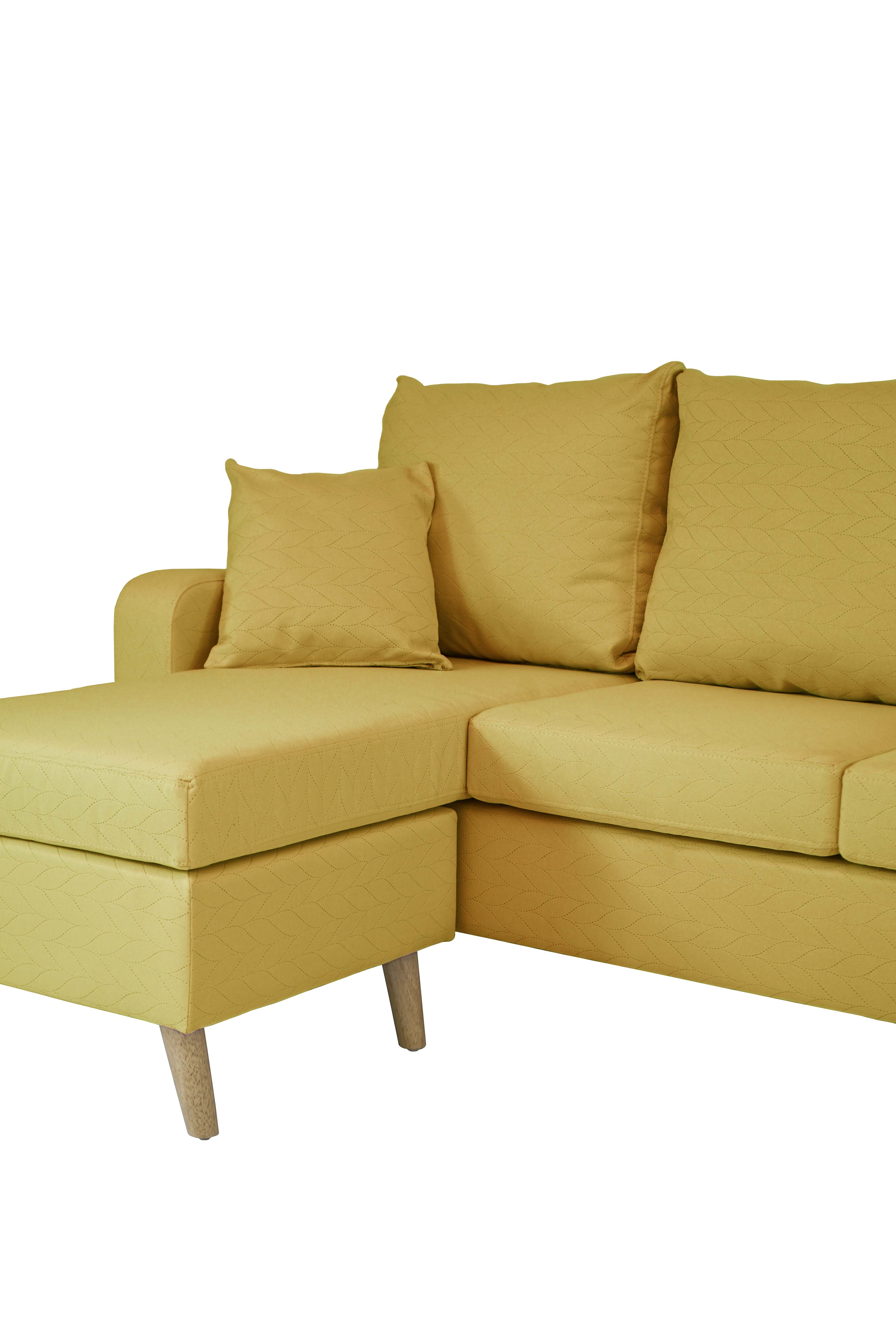 Details about Modern Linen Small Space LShape Couch Reversible Sofa  Configurable Chaise Yellow