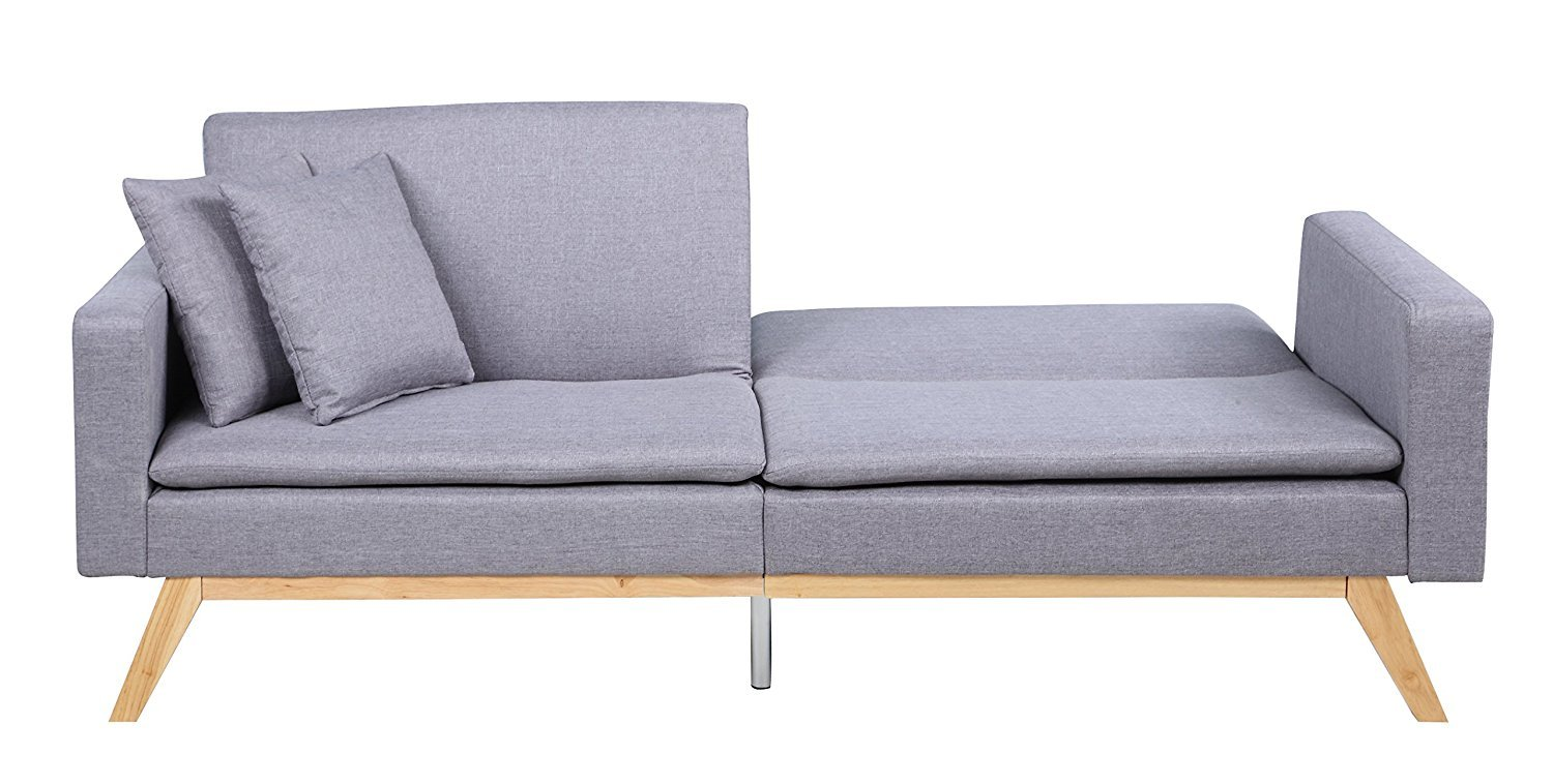 Magnificent Details About Light Grey Contemporary Split Back Futon Sofa With Low Profile Wooden Frame Legs Squirreltailoven Fun Painted Chair Ideas Images Squirreltailovenorg