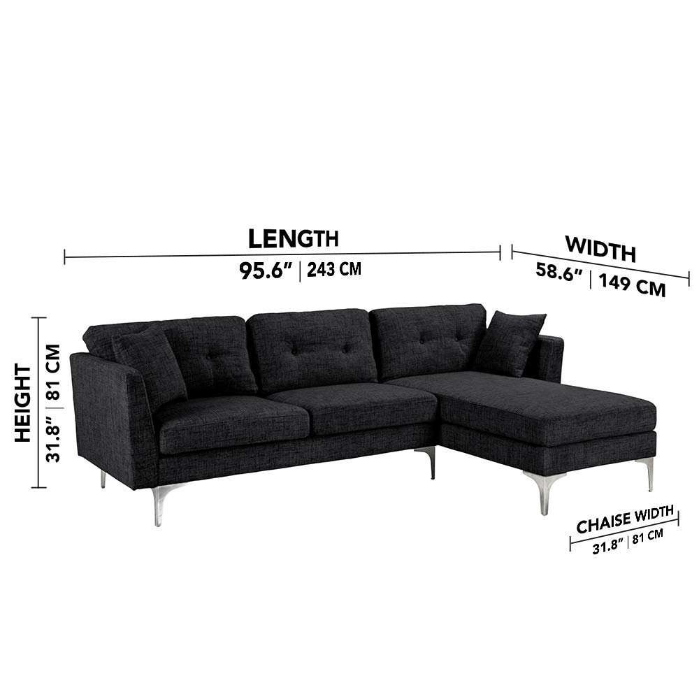 Details about Black Upholstered Linen Sectional Sofa Couch Modern L-Shape  Sectional Couch