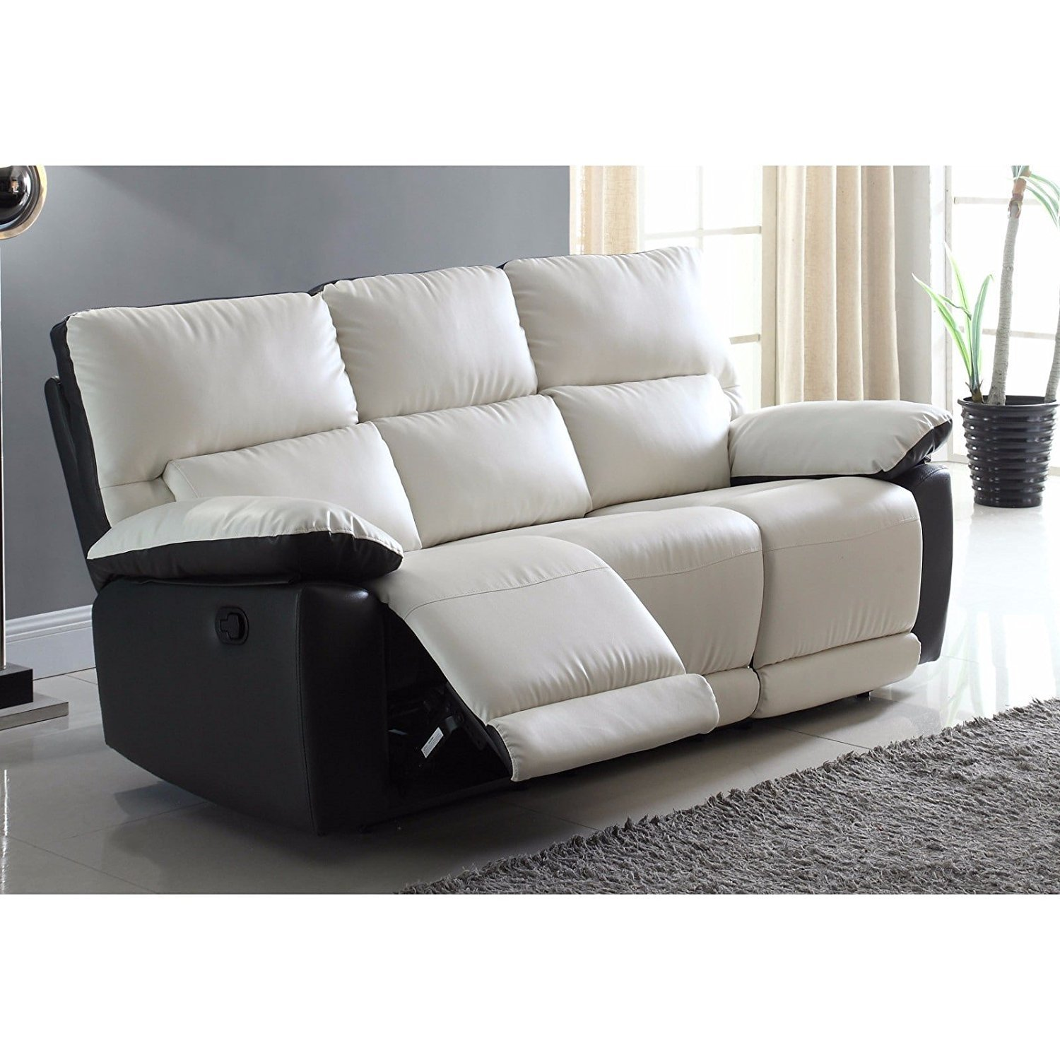 Etonnant Modern Two Tone Bonded Leather Oversize Recliner Sofa