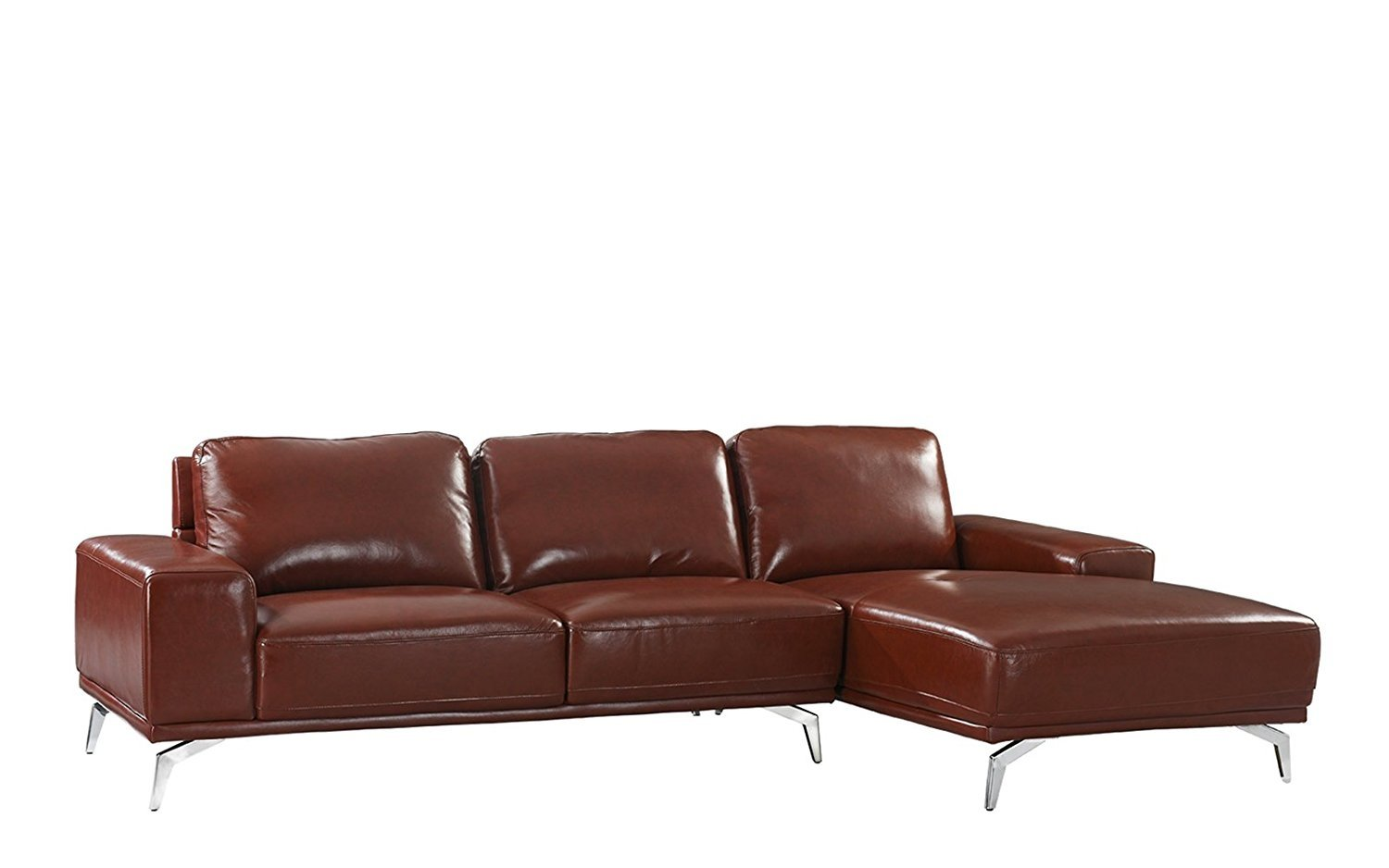 Modern Leather Sectional Sofa L Shape Couch W Right Facing Chaise