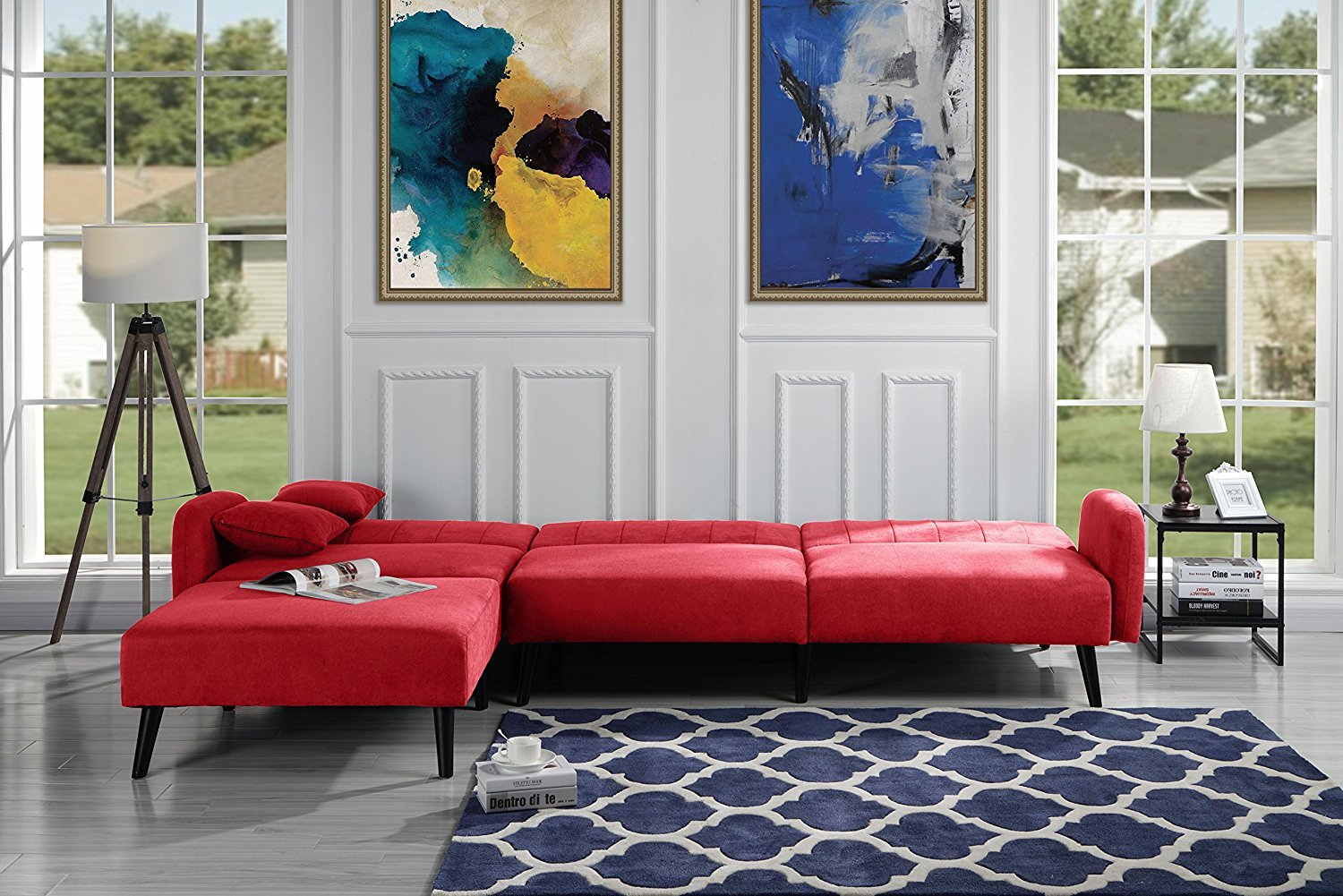 Details About Mid Century Reclining Futon Sleeper Sofa Linen Fabric Sectional Red