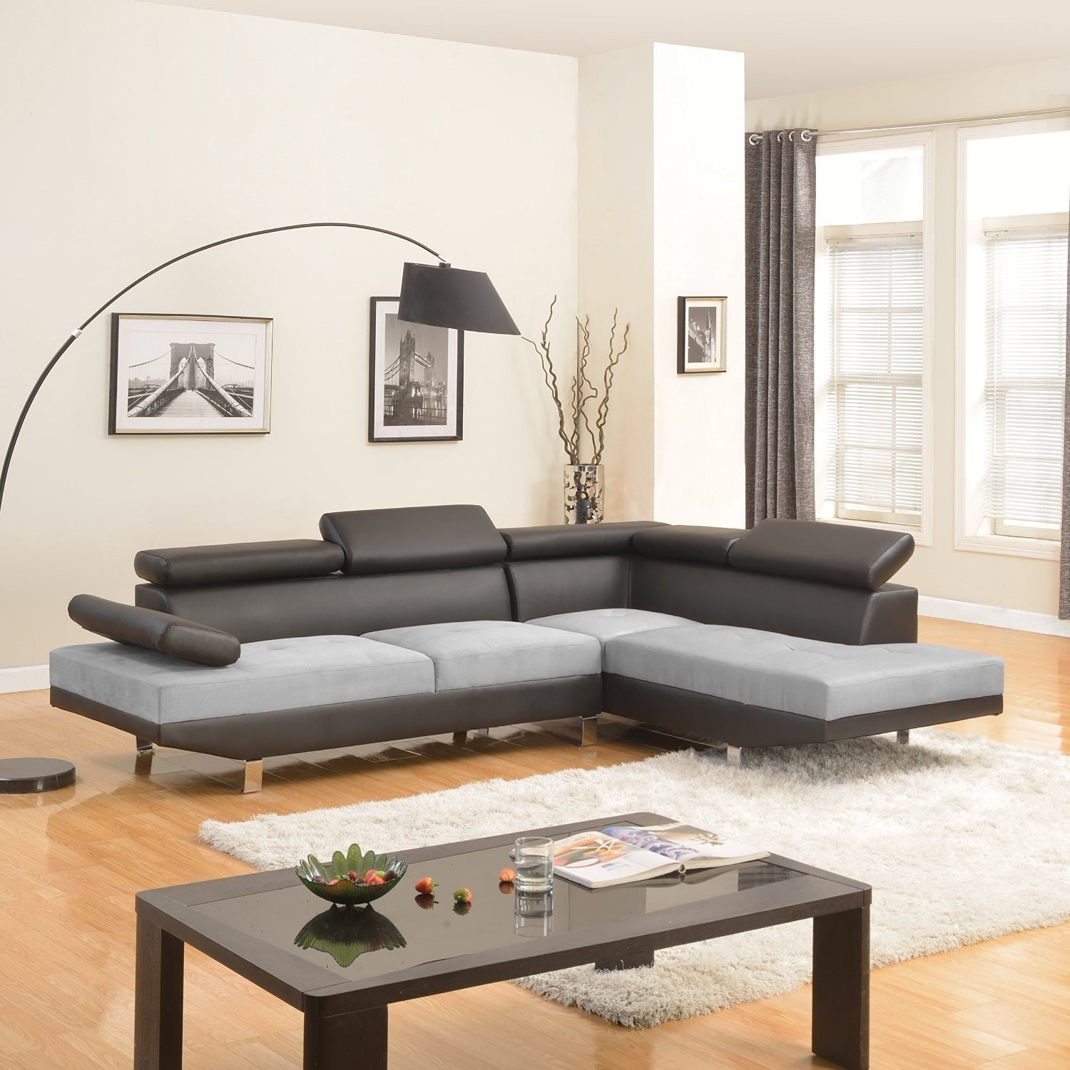 Details about Black Grey Contemporary Couch 2 Tone Microfiber Bonded  Leather Sectional Sofa