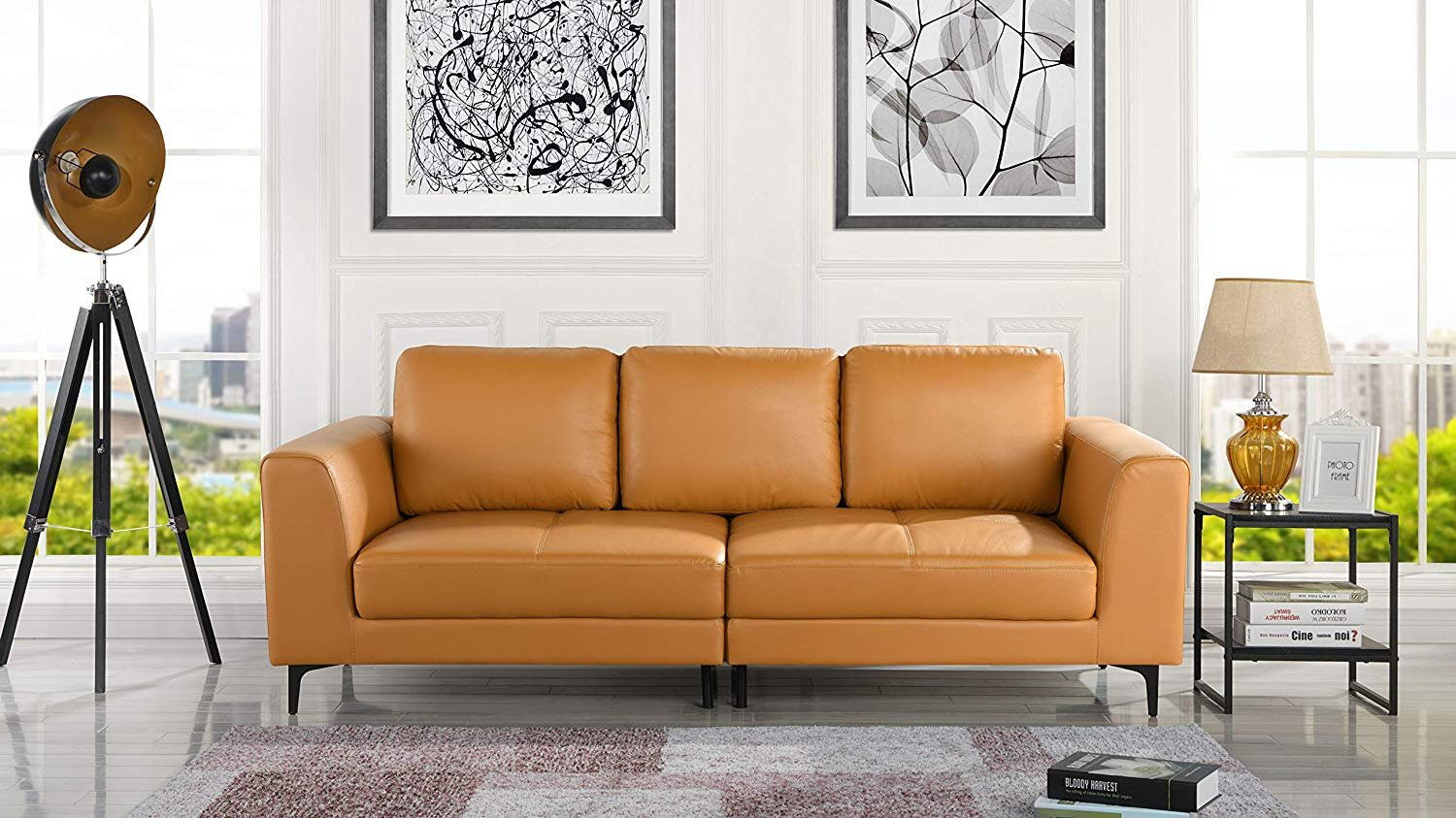 Details about Mid Century Modern Leather Fabric 3 Seat Sofa, Couch 81.1\