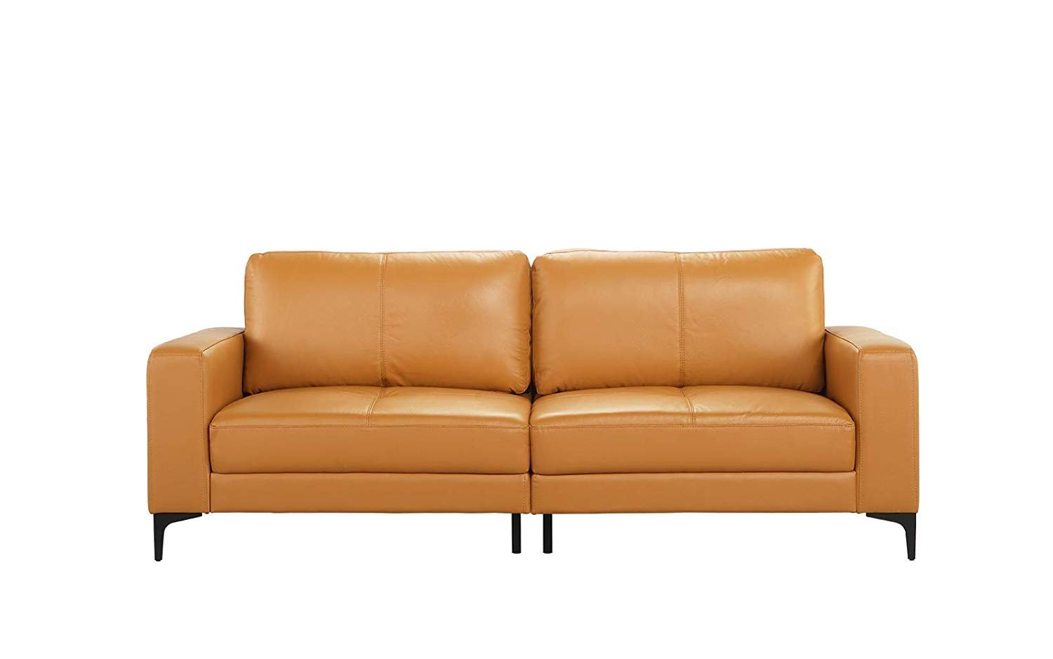 Details About Mid Century Modern Upholstered Leather Match Sofa 80 3 W Inch Couch Light Brown