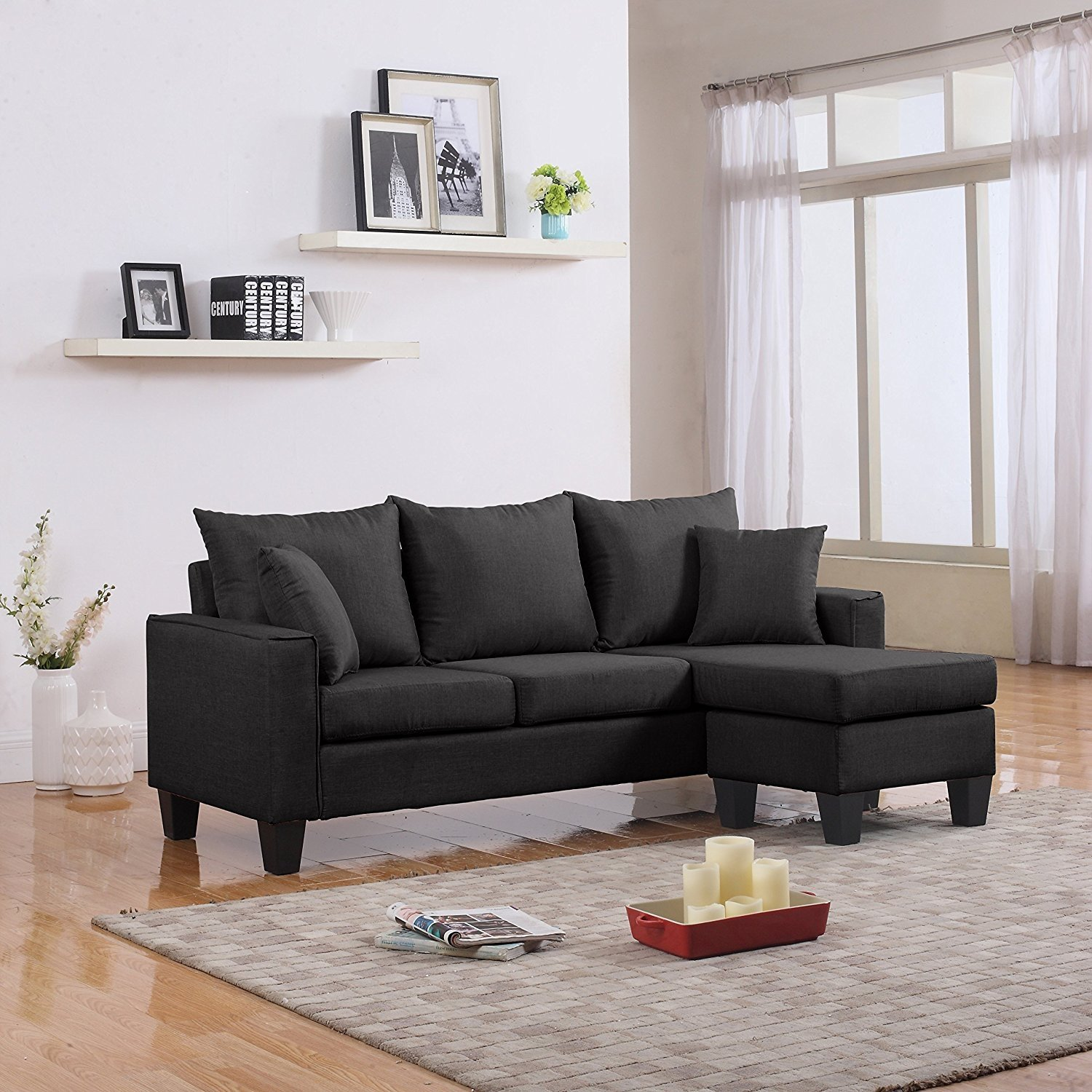 Miraculous Details About Modern Linen Fabric Small Space Sectional Sofa With Reversible Chaise Dark Grey Short Links Chair Design For Home Short Linksinfo