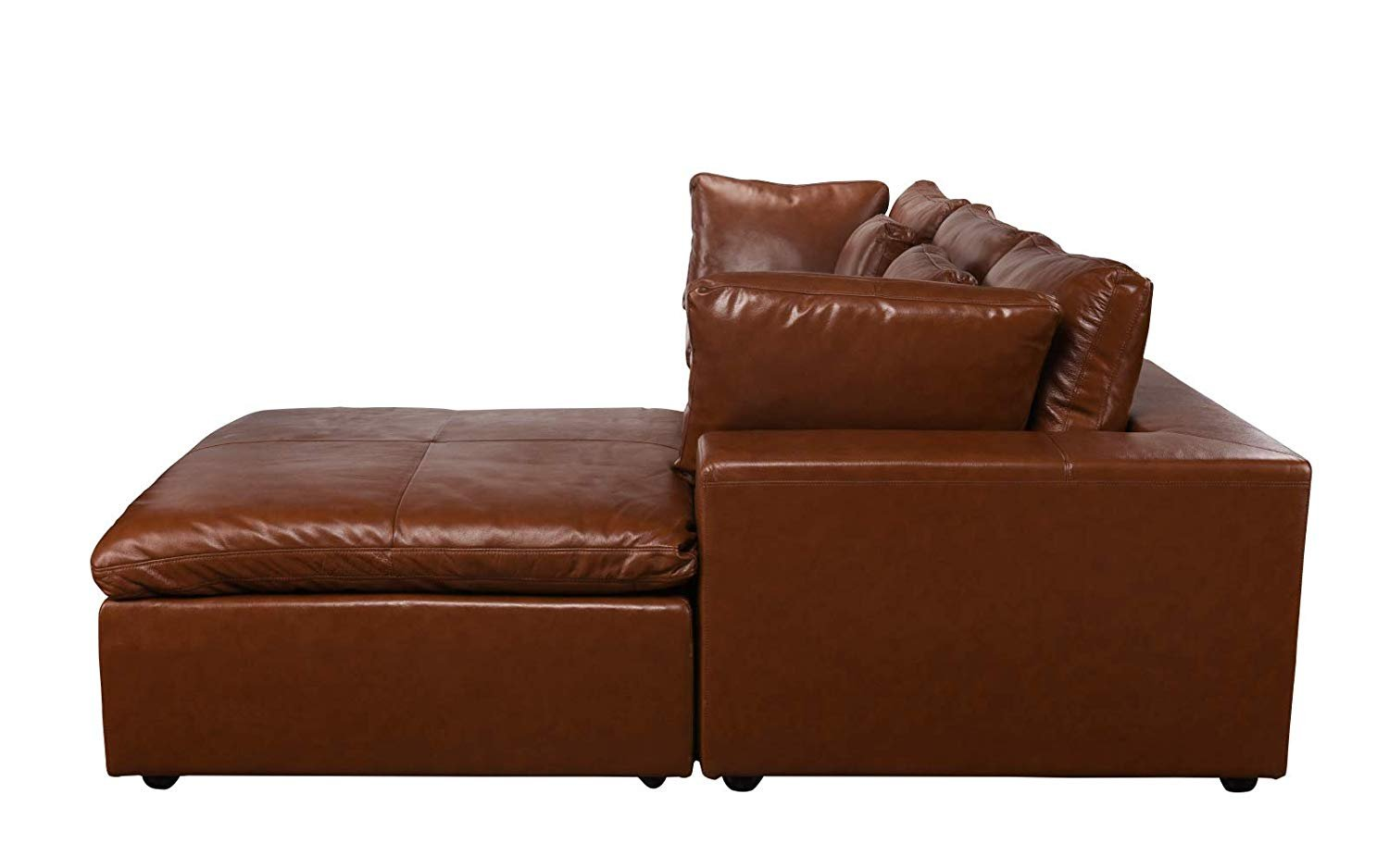 Leather Lounge Sectional Sofa, L Shape Couch with Wide ...