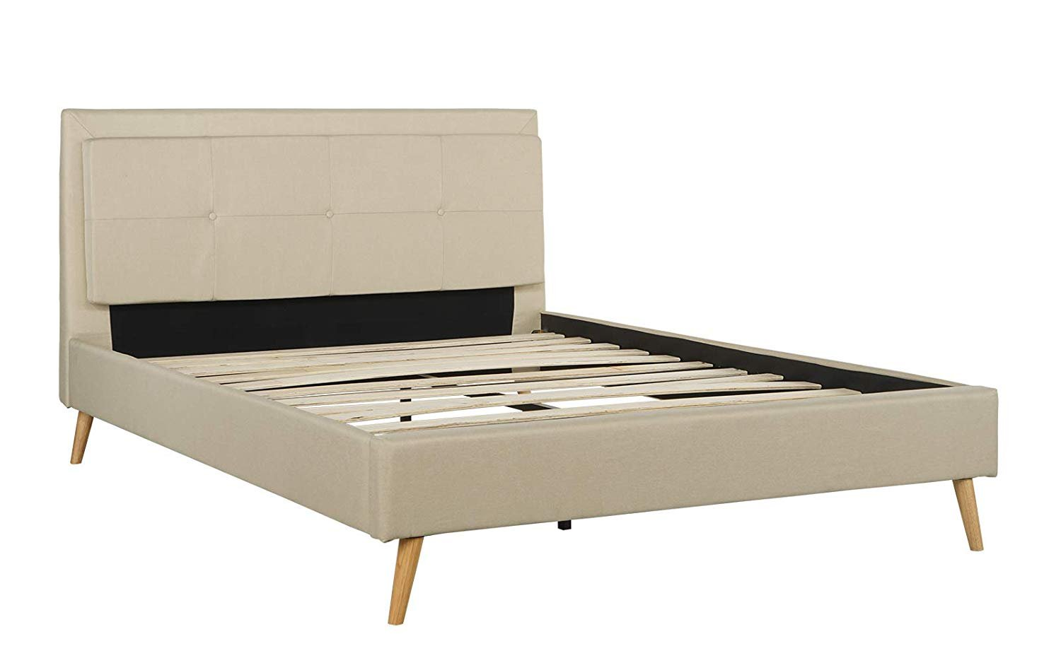Queen Size Mid Century Modern Upholstered Bed Frame Tufted Panel Headboard Beige Ebay