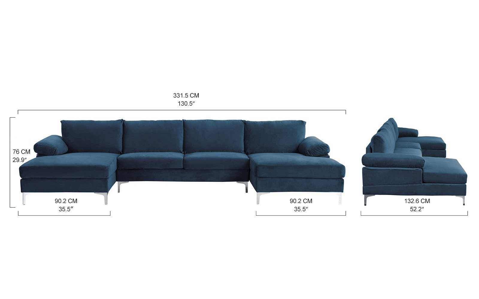 Enjoyable Details About Modern Large Velvet U Shape Sectional Sofa Double Extra Wide Chaise Lounge Navy Inzonedesignstudio Interior Chair Design Inzonedesignstudiocom