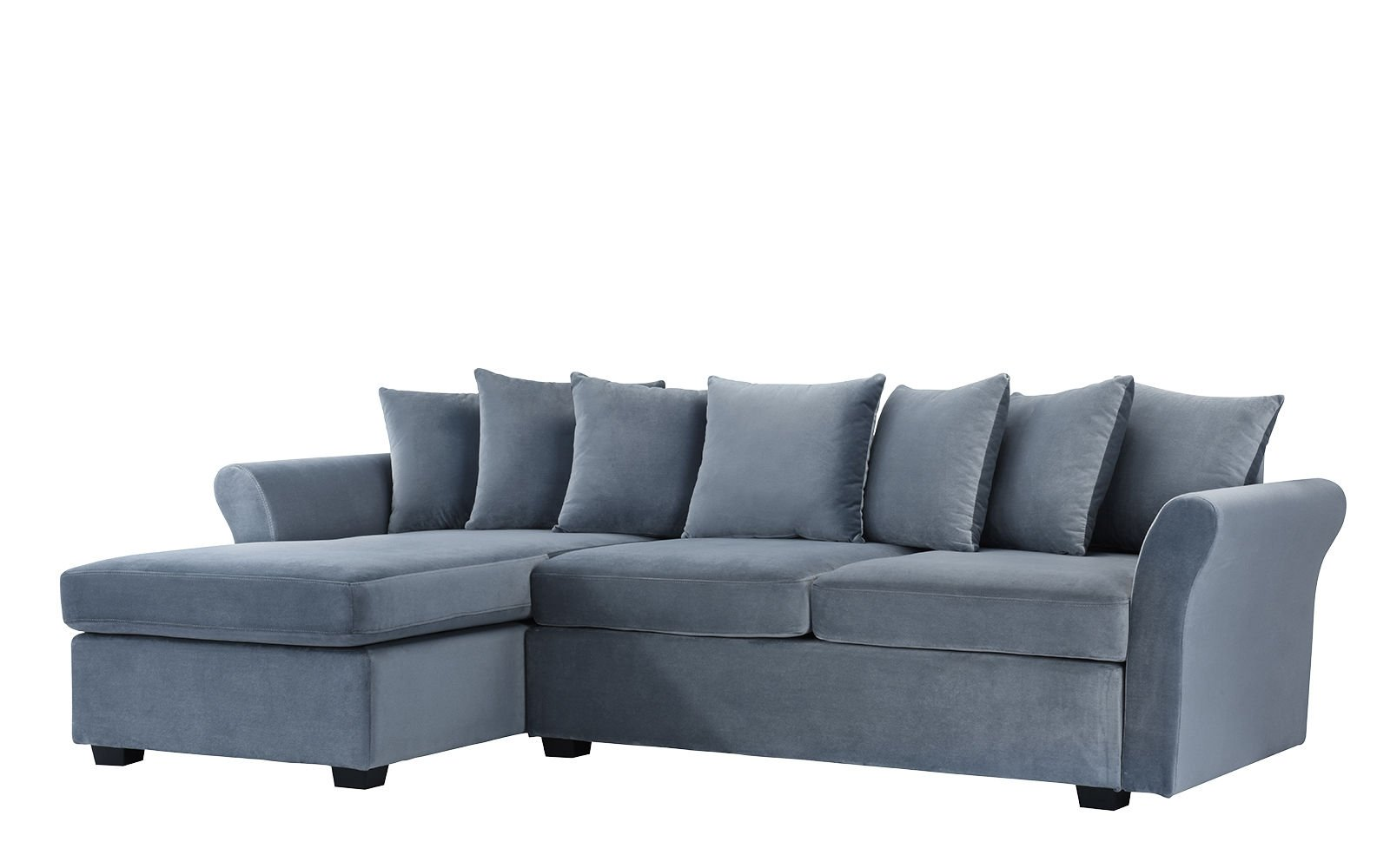 Modern large velvet sectional sofa l shape couch with extra wide chaise lounge light grey