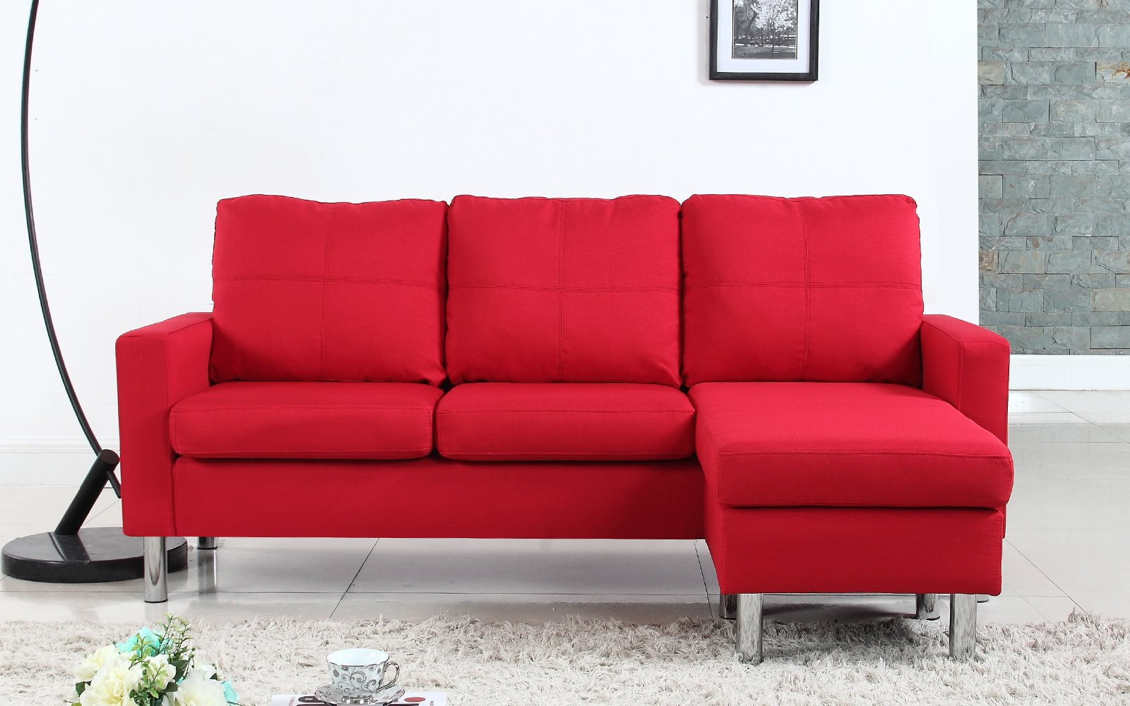 Details about Modern Small Space Reversible Linen Fabric Upholstered  Sectional Sofa, Red