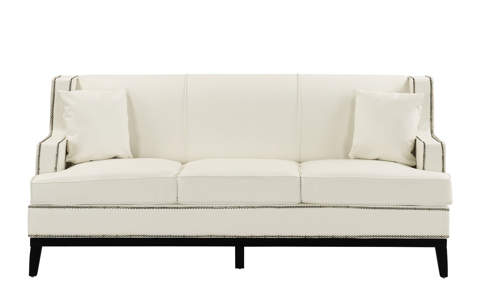 Modern Soft Bonded Leather with Nailhead Trim Details Living Room Sofa in  White
