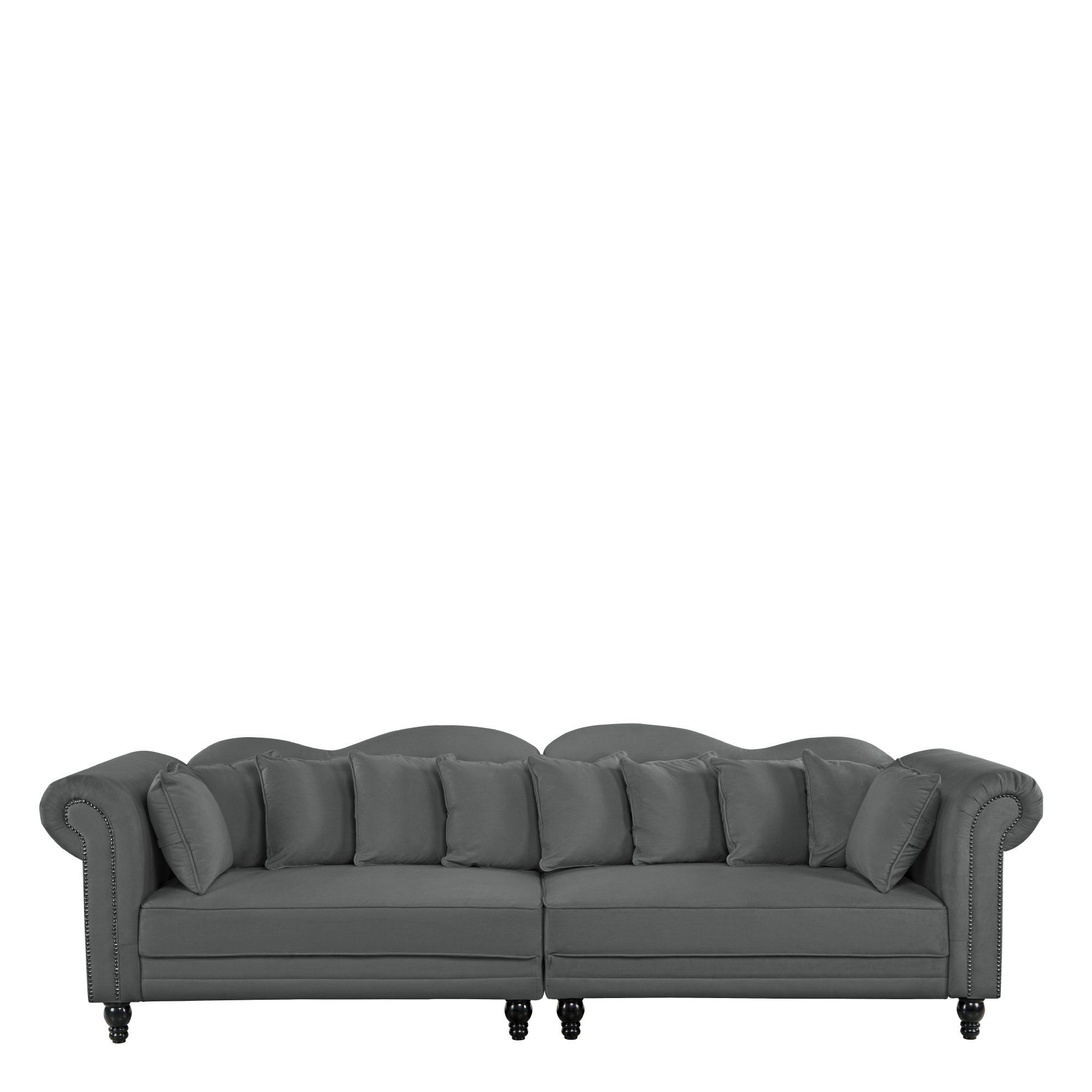 Details about 2 PC Large Chesterfield Sofa, Velvet Couch w/ Scroll Arms,  Nailheads, Dark Grey