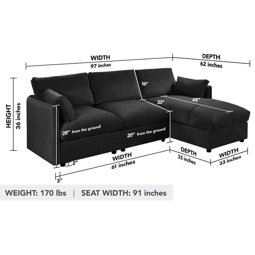 Details about Modern Living Room Velvet L Shape Couch Sectional Sofa Right  Facing Chaise Black