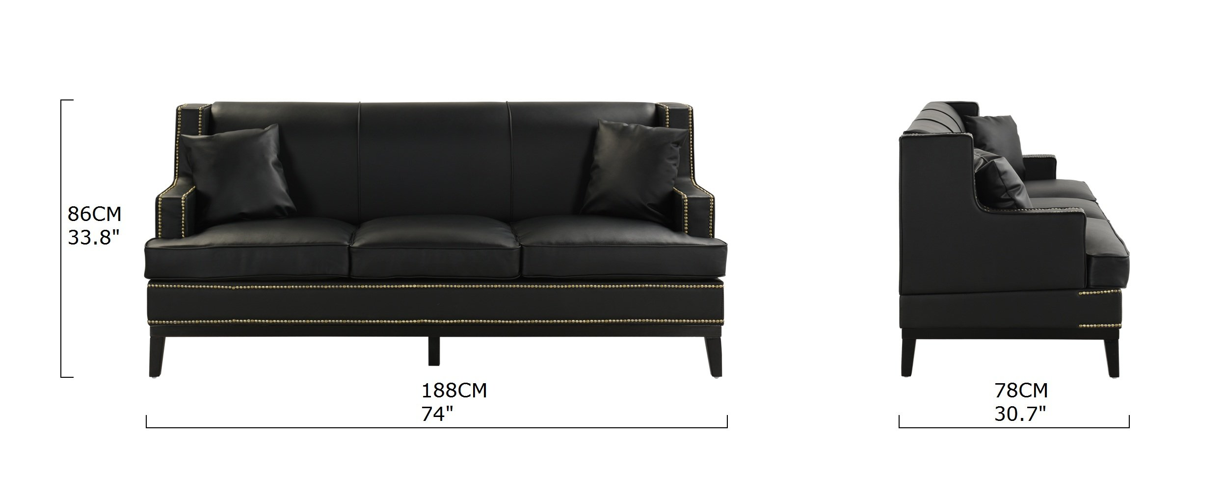 Black Modern Bonded Leather Sofa With Nailhead Trim Detail 2 Accent Pillows