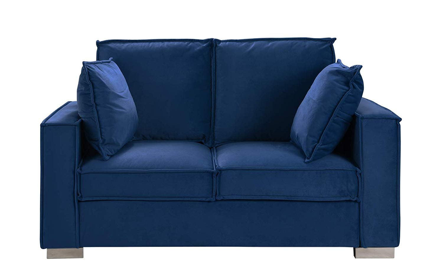 Details about Royal Blue Brush Microfiber Sofa, Small Space Loveseat Couch  w/ Pillows