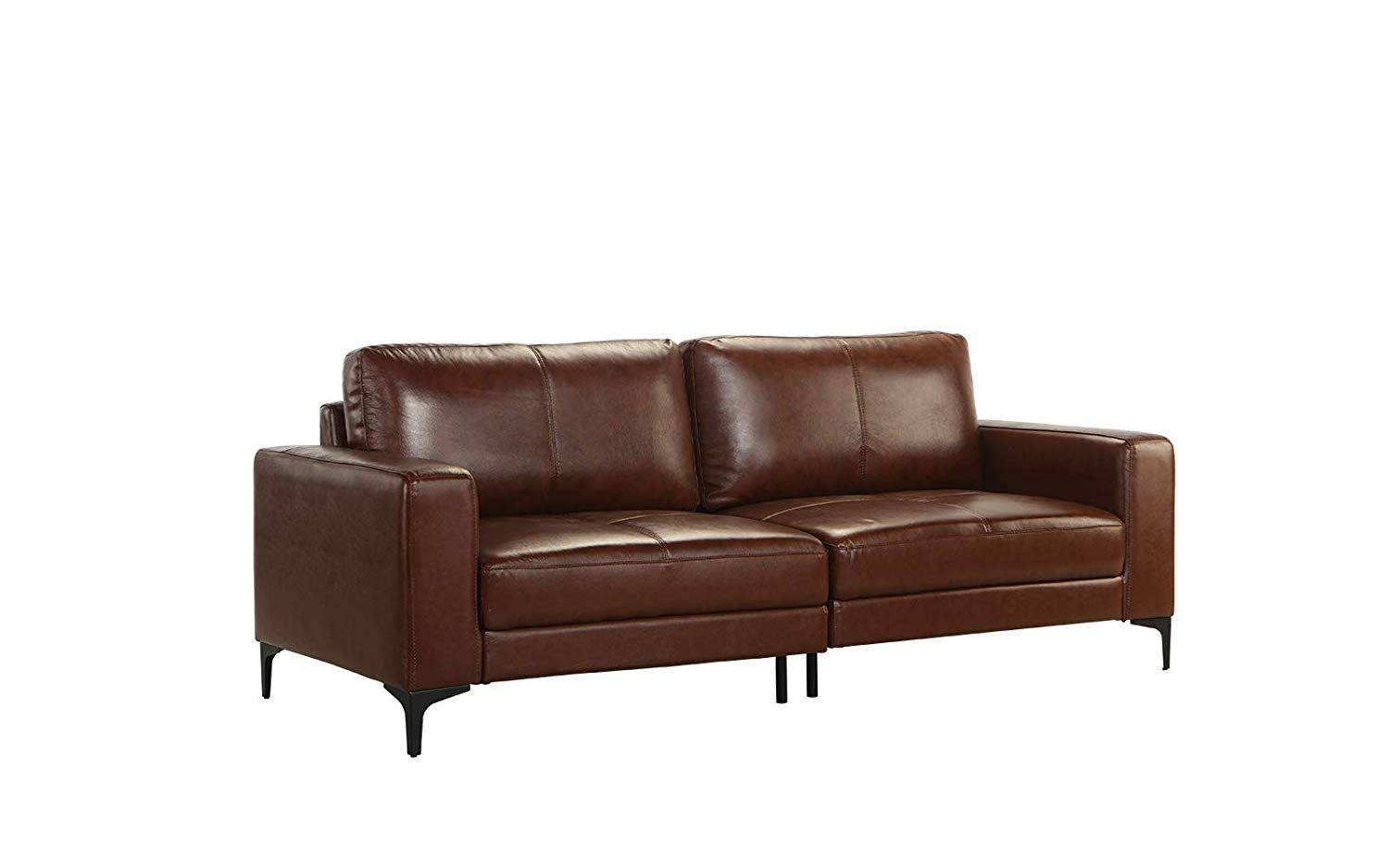 Details About Mid Century Modern Upholstered Leather Match Sofa 80 3 W Inch Couch Dark Brown