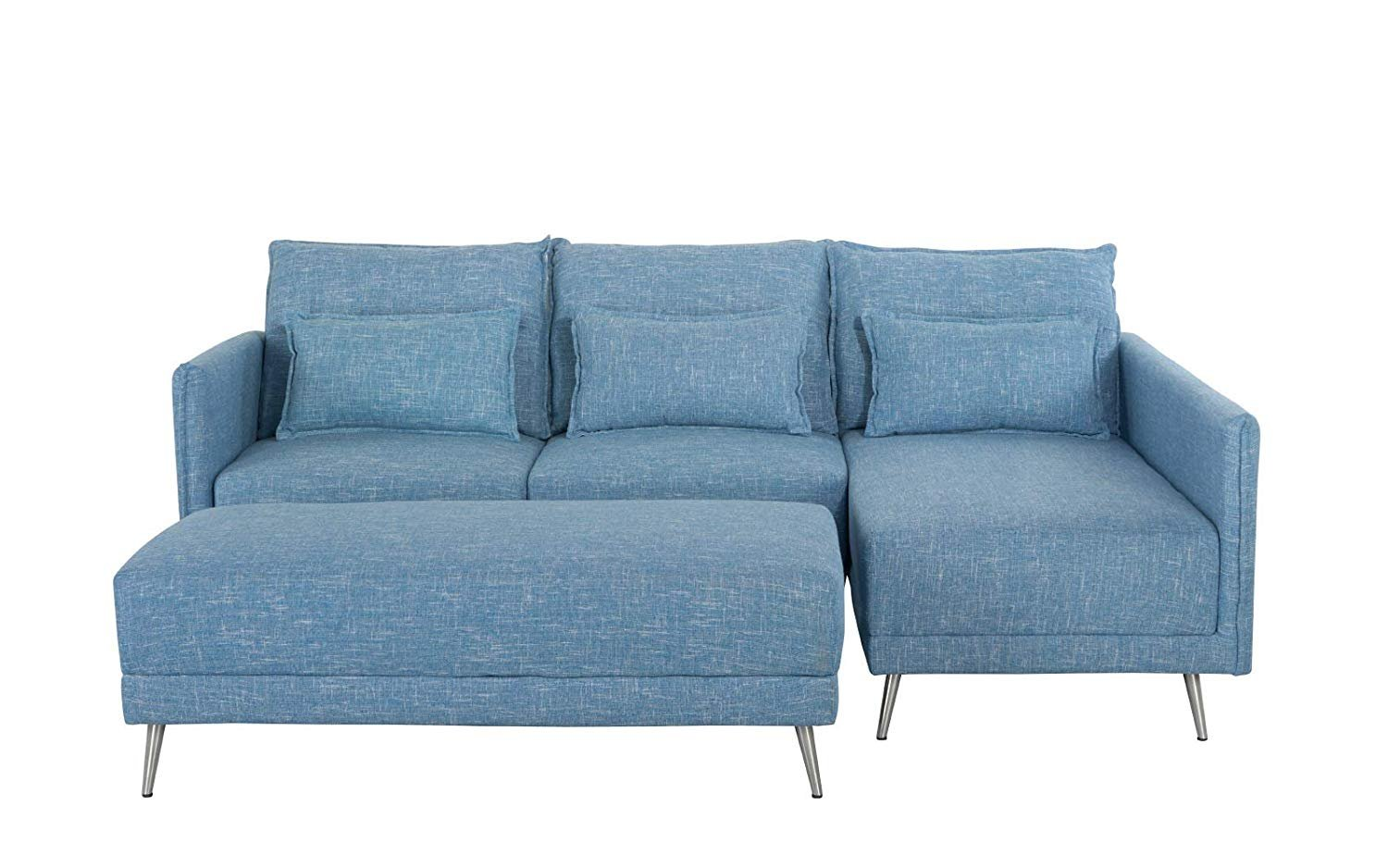 Pleasant Details About Modern 88 1 Inch Sectional Sofa L Shape Couch W Rectangular Ottoman Sky Blue Dailytribune Chair Design For Home Dailytribuneorg