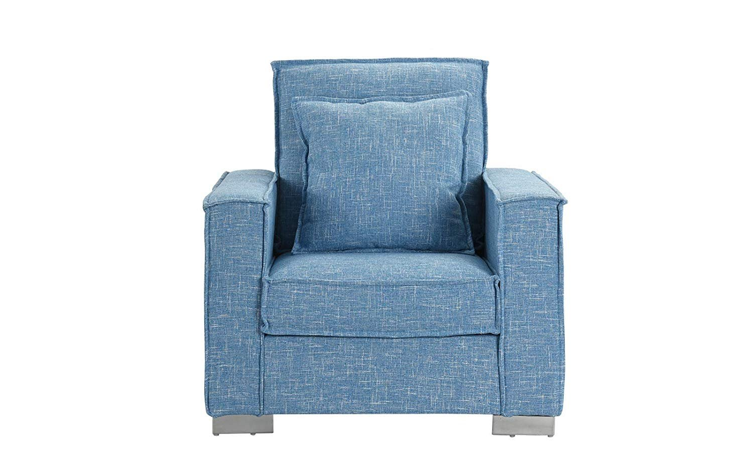 Details About Living Room Large Linen Fabric Armchair Modern Home Accent Chair Light Blue