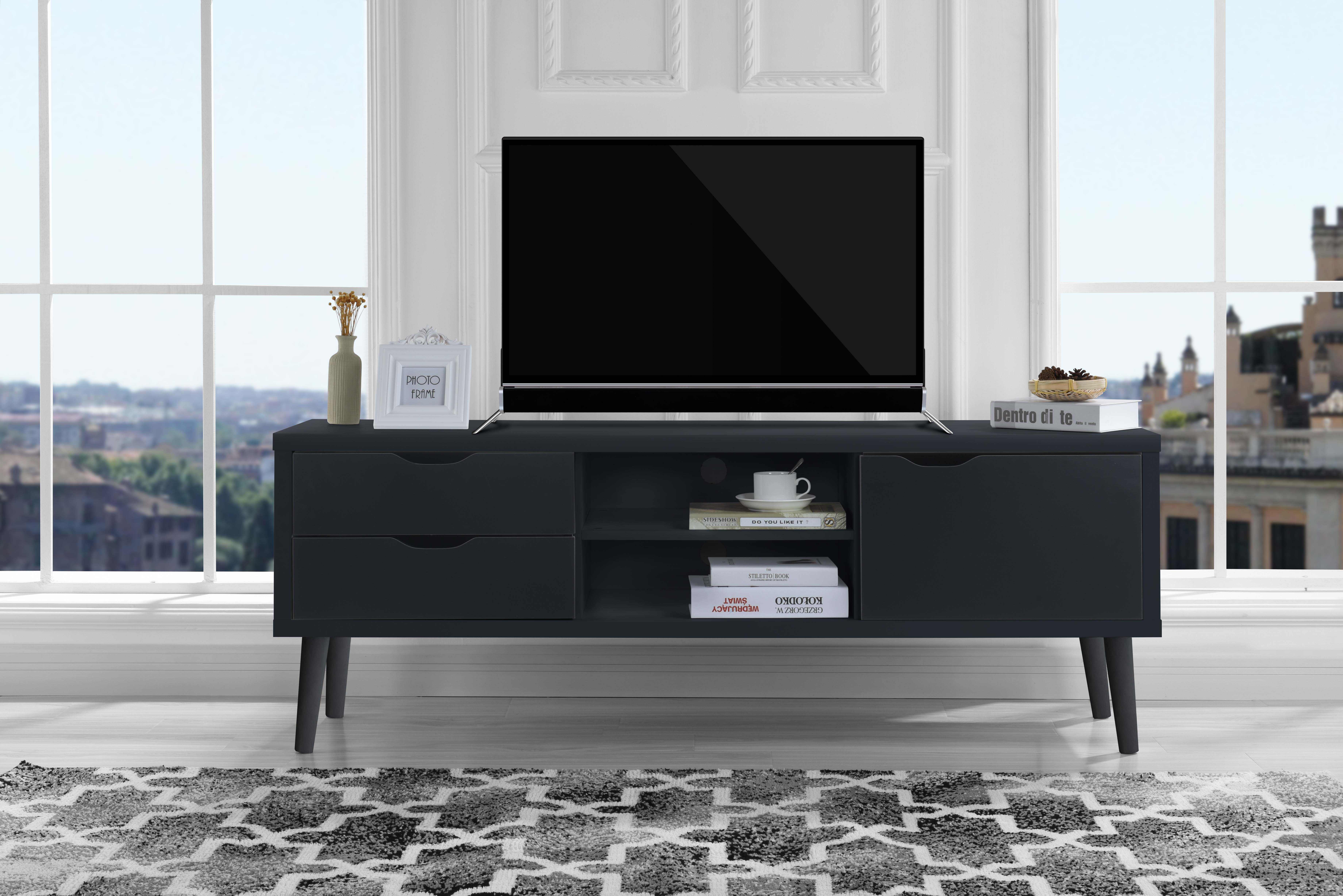 Details about Mid-Century Modern Style TV Stand Living Room TV  Entertainment Center, Dark Grey