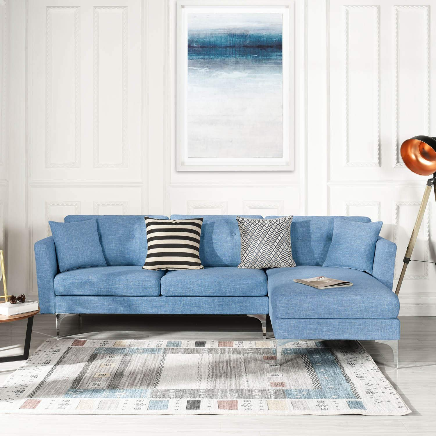 Details about Blue Upholstered Linen Sectional Sofa Couch Modern L-Shape  Sectional Couch