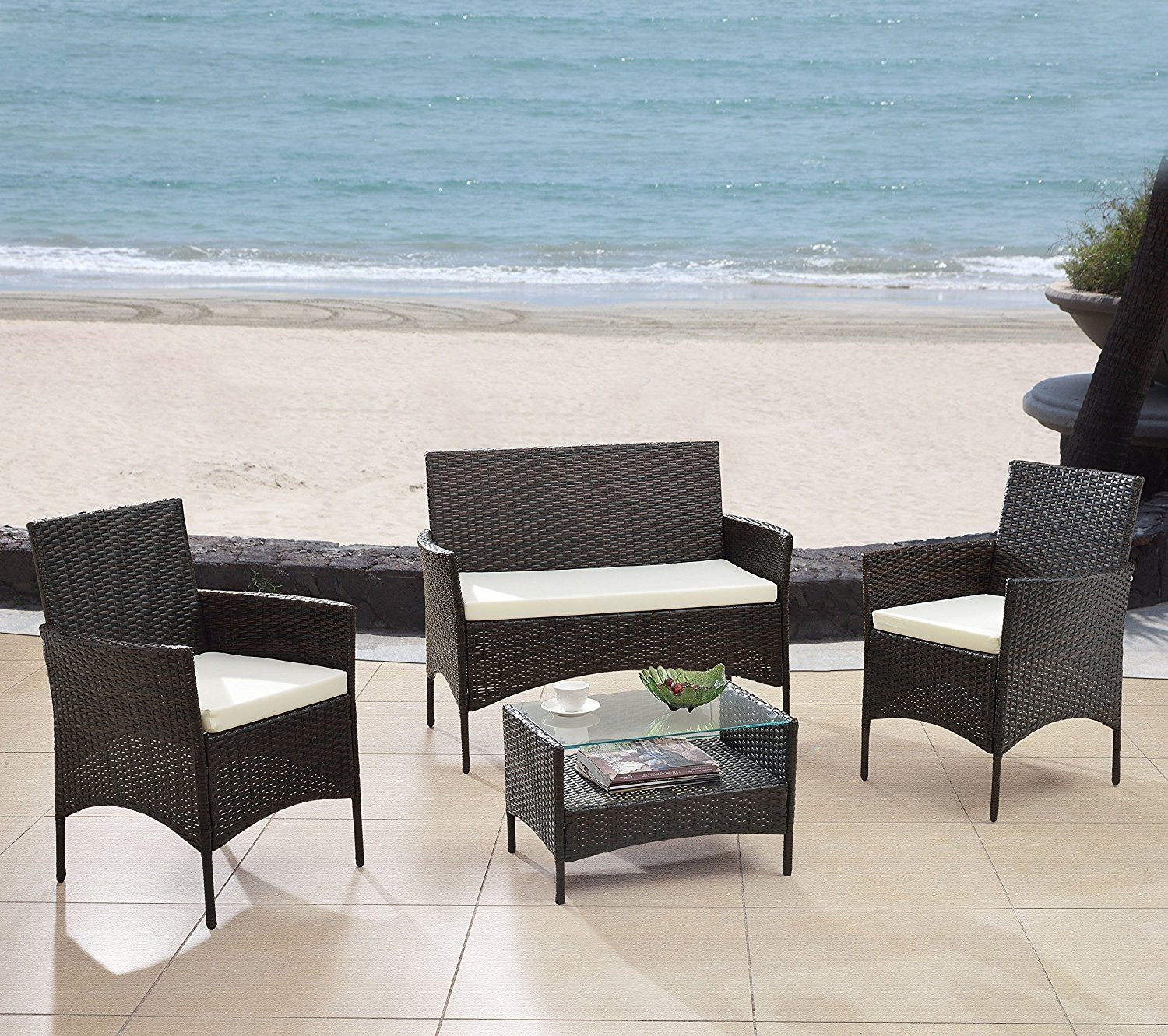Outstanding Details About Modern Outdoor Garden Patio Backyard Set 4 Piece Bench Chairs Table Brown Forskolin Free Trial Chair Design Images Forskolin Free Trialorg