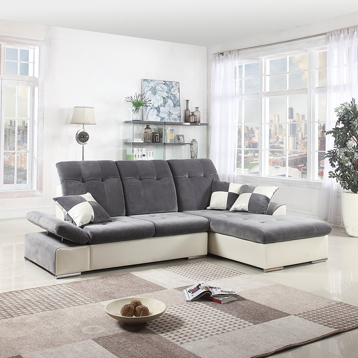 Classic Large Faux Leather And Brush Microfiber L Shape Sectional