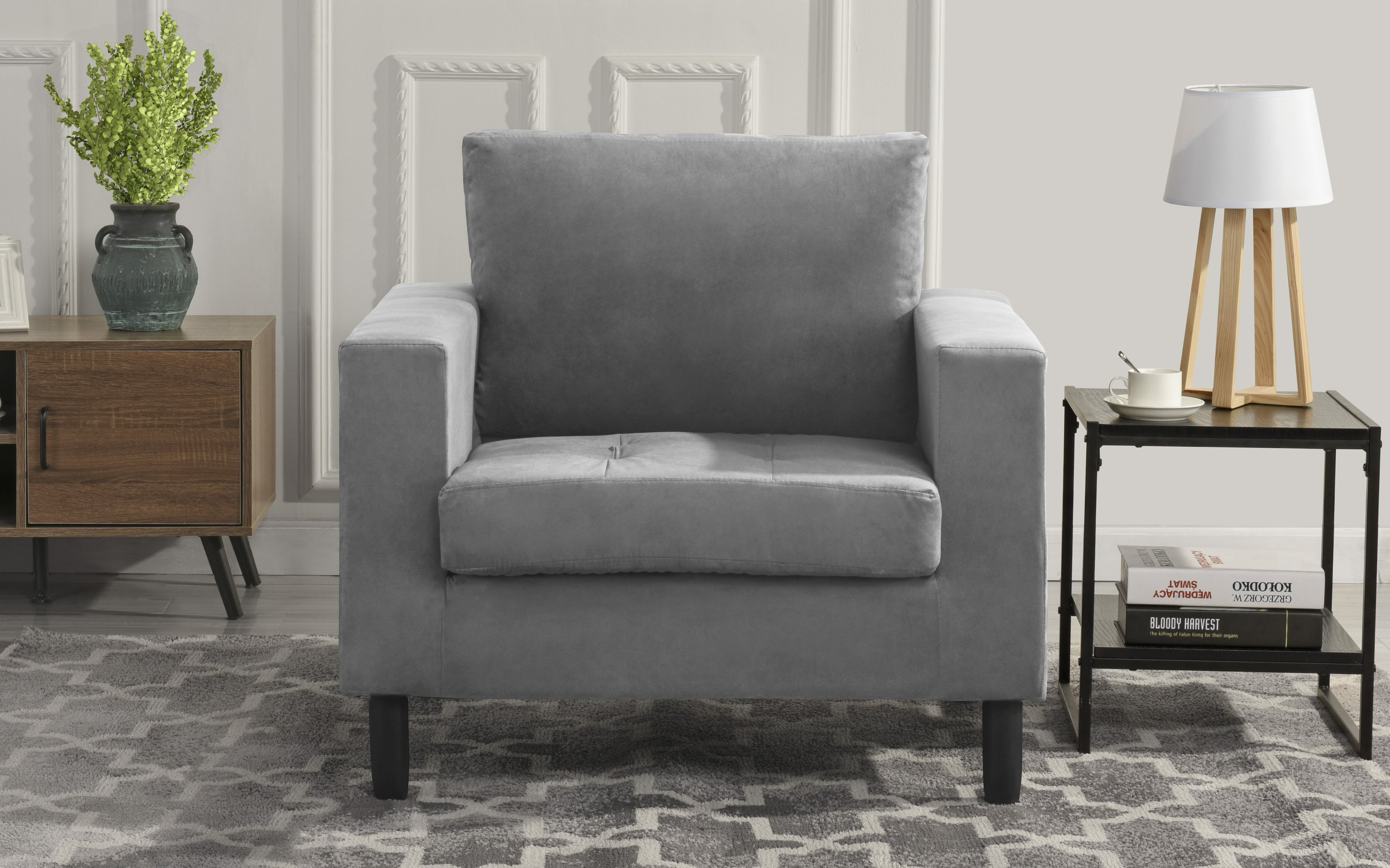 Details About Mid Century Modern Tufted Velvet Armchair Living Room Chair Grey
