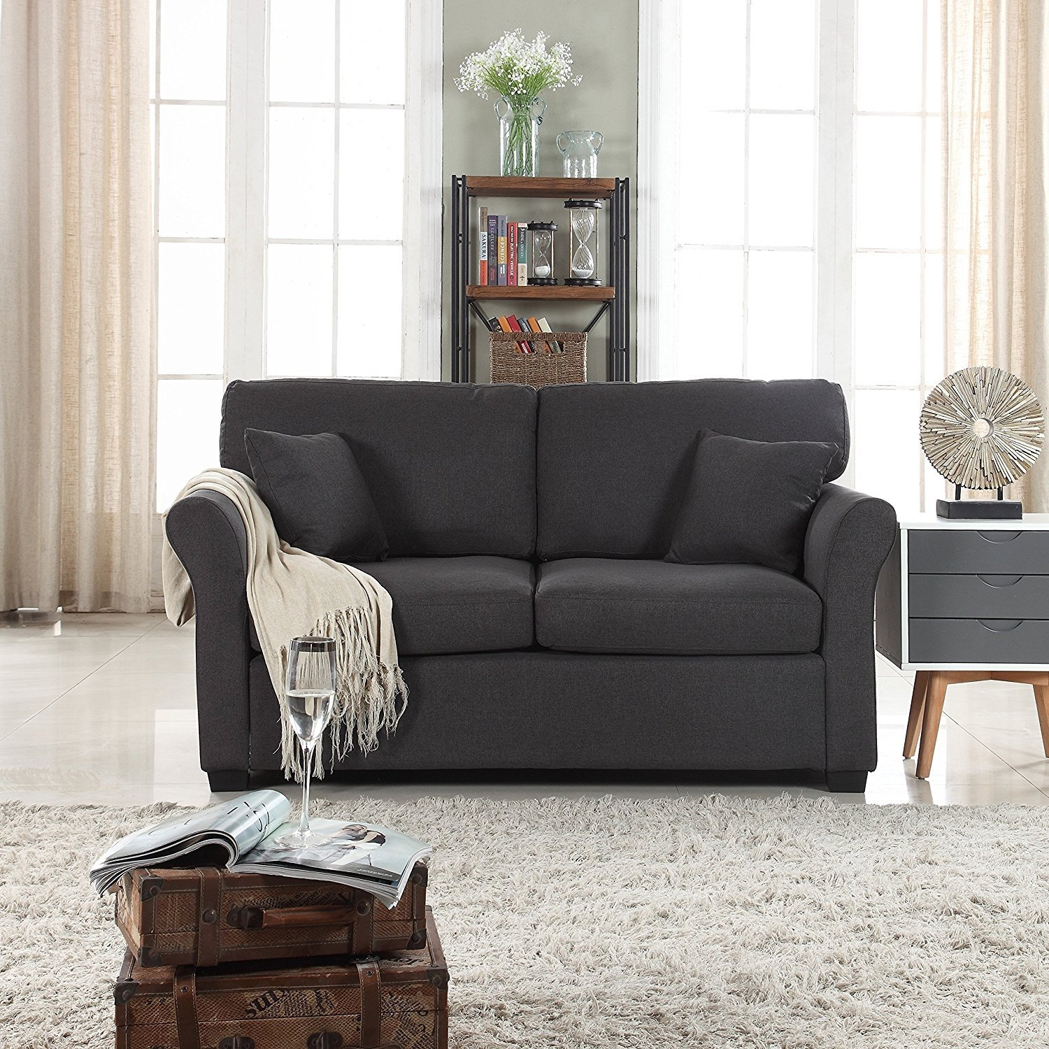 Prime Details About Classic Cozy Comfortable Fabric Love Seat Sofa Living Room Loveseat Dark Grey Squirreltailoven Fun Painted Chair Ideas Images Squirreltailovenorg