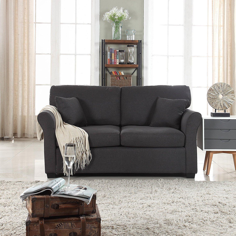 Magnificent Details About Classic Cozy Comfortable Fabric Love Seat Sofa Living Room Loveseat Dark Grey Uwap Interior Chair Design Uwaporg