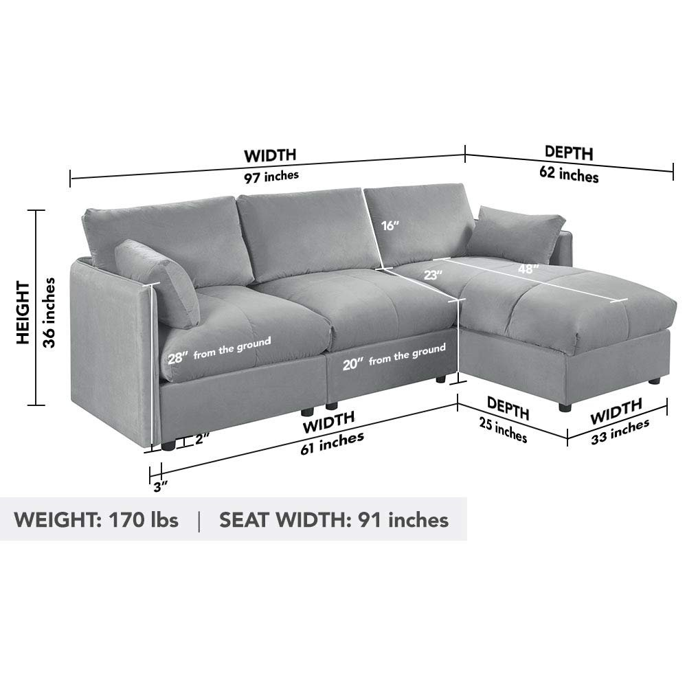 Details about Grey Modern Sectional Living Room Velvet L Shape Couch Sofa  Right Facing Chaise
