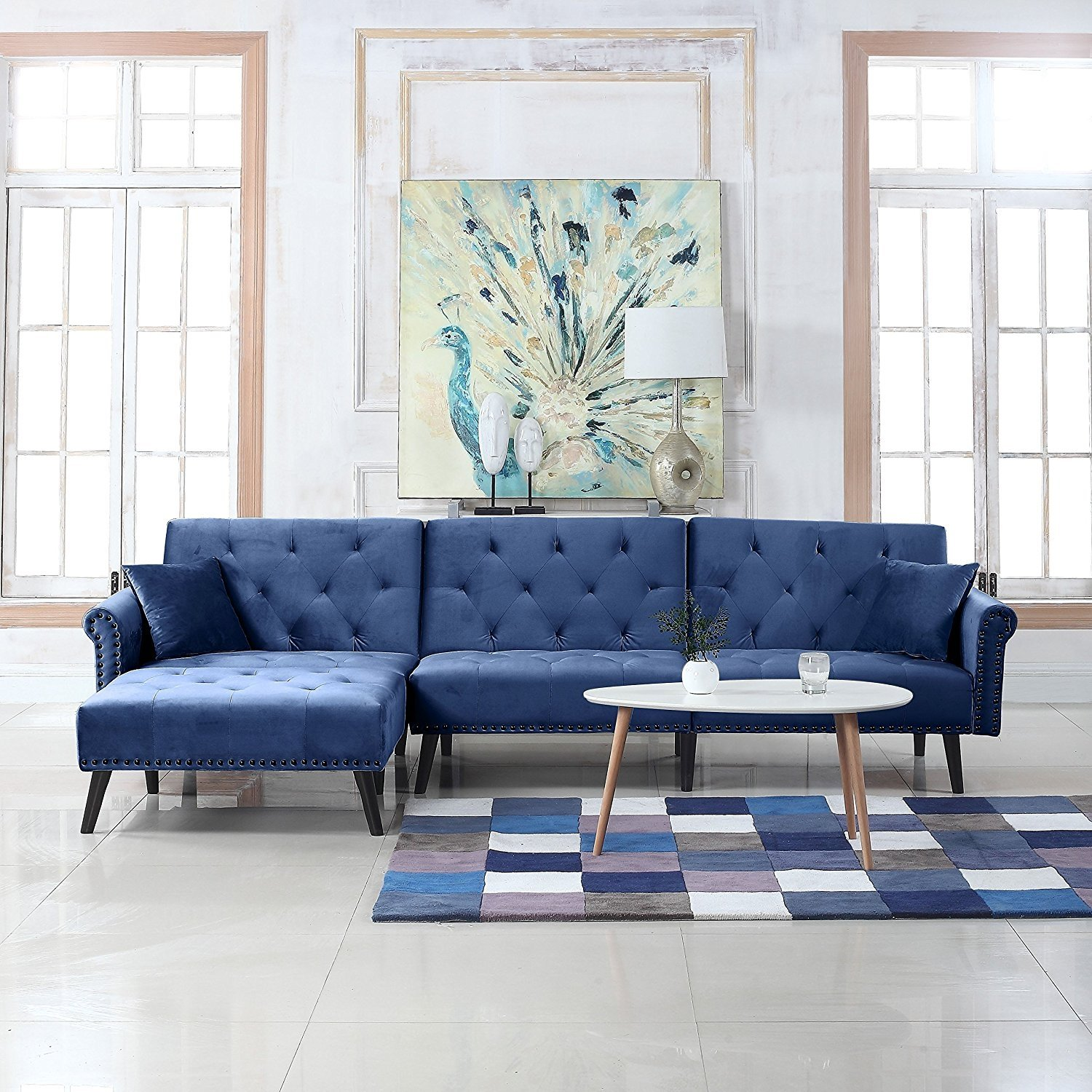 Details about Contemporary Modern Velvet Sleeper Futon Sofa, Mid Century L  Shape Couch, Navy