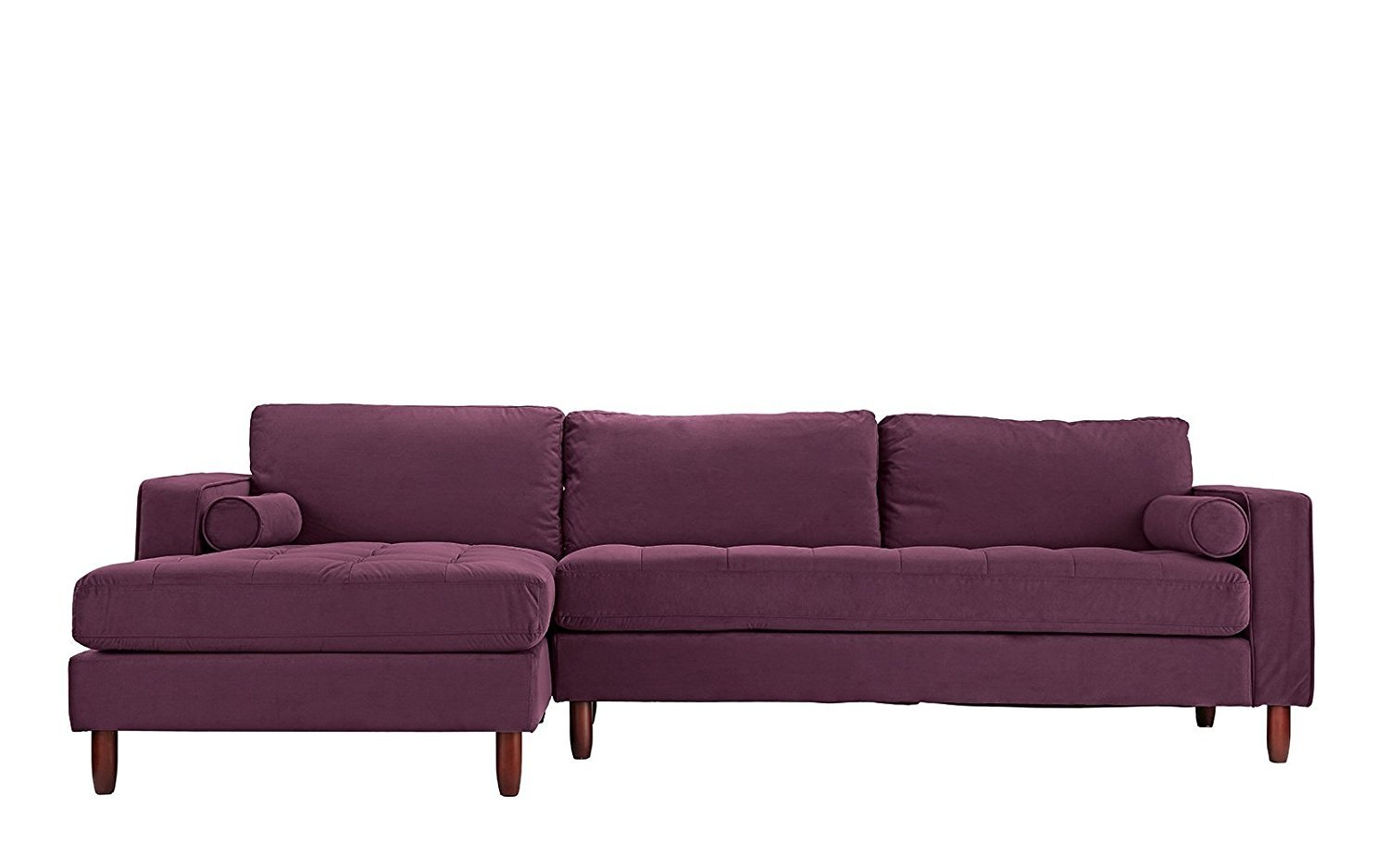 Peachy Details About Tufted Velvet Fabric Sectional Sofa L Shape Couch Left Facing Chaise Purple Ncnpc Chair Design For Home Ncnpcorg