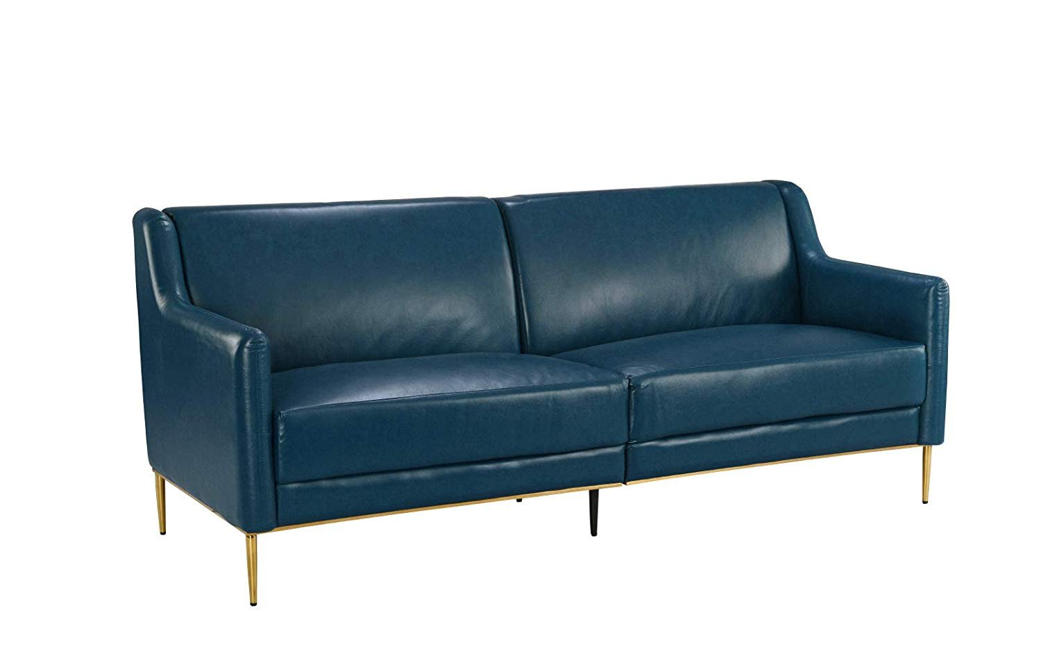 Mid Century Leather Sofa Sleek Simple Modern Living Room Couch