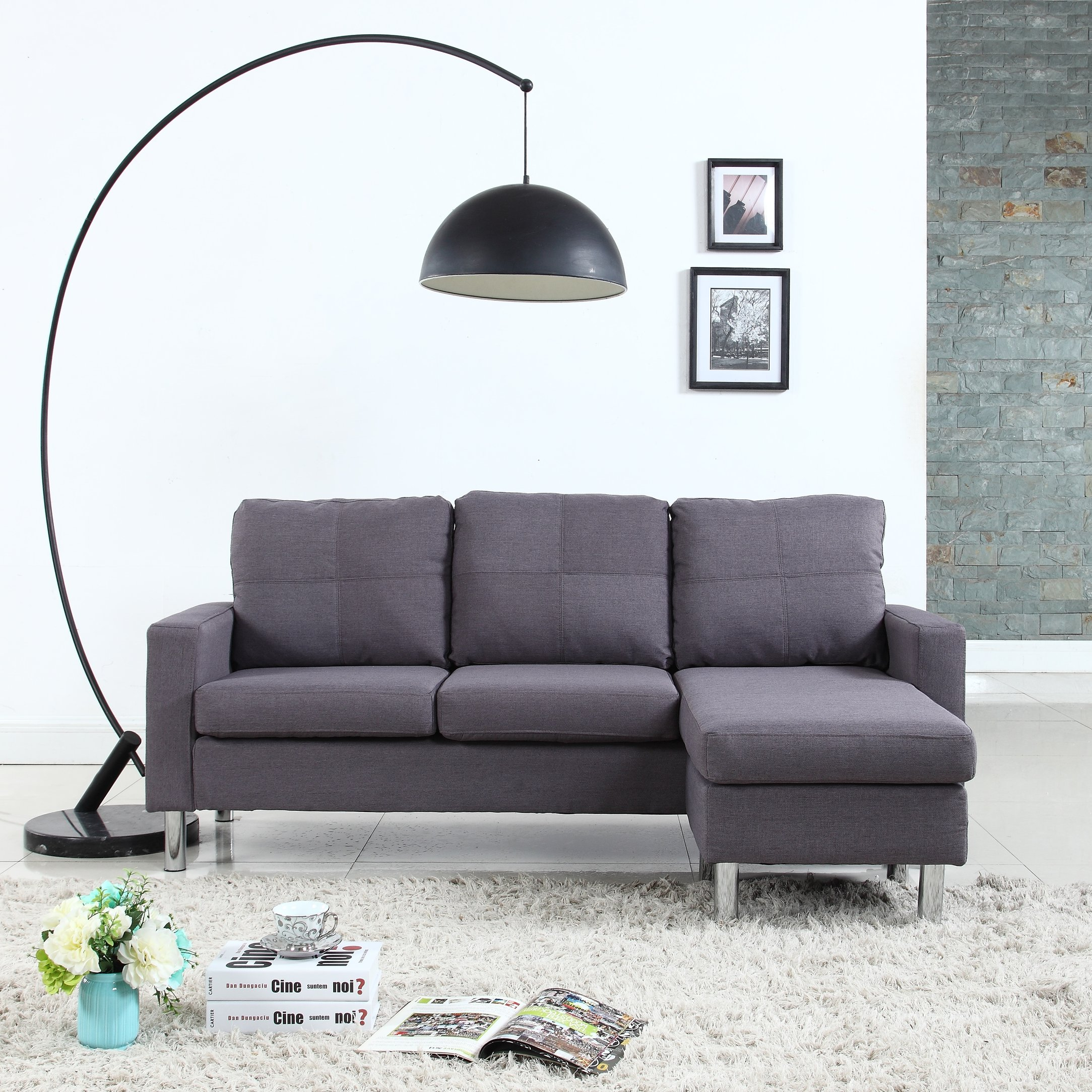 Brilliant Details About Modern Living Room Reversible Linen Fabric Sectional Sofa Small Space Light Grey Home Remodeling Inspirations Genioncuboardxyz