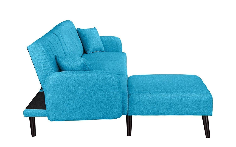 mid century modern style fabric sleeper futon sofa living room l shape sectional ebay. Black Bedroom Furniture Sets. Home Design Ideas