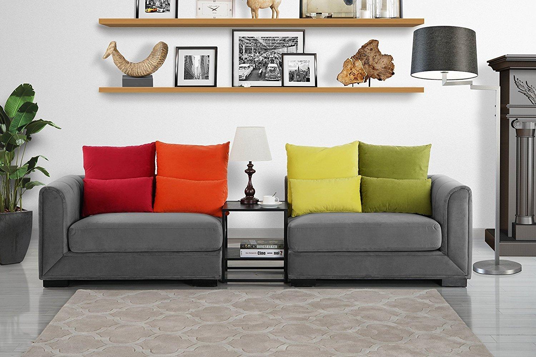 Details about Modern 2 Piece Colorful Velvet Convertible Living Room Sofa  Adjustable Dark Grey