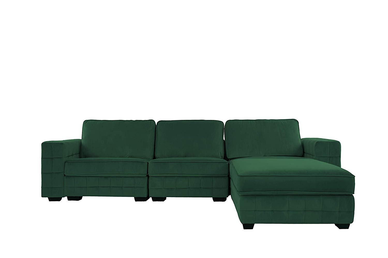 Details about Green Velvet Fabric Sectional Sofa for Large Living  Room/Family Room Furniture