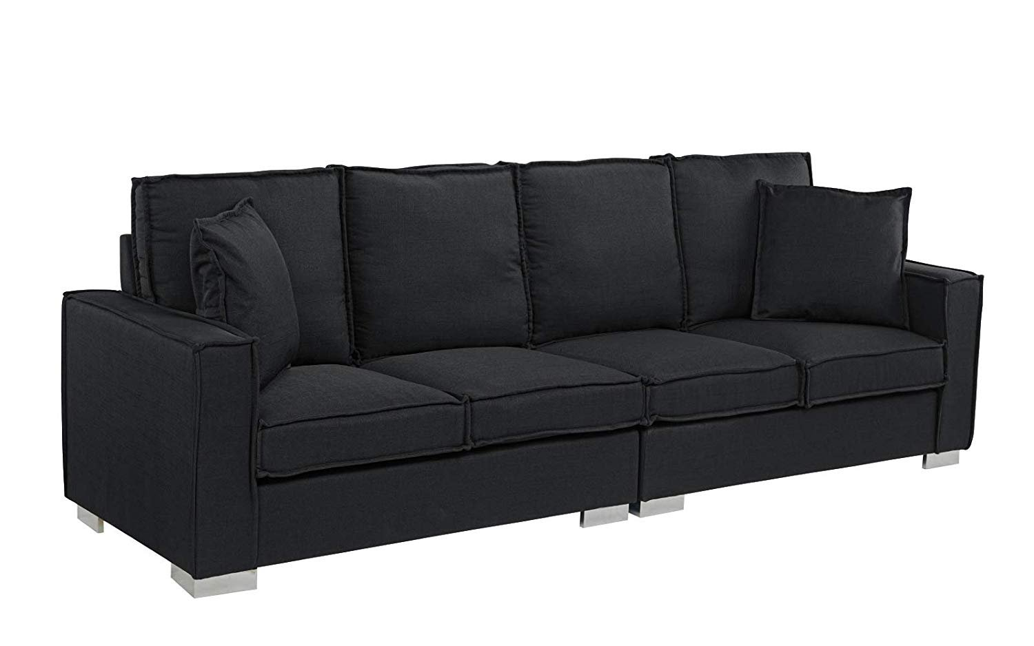 Details about Extra Large Modern Living Room Fabric Sofa, 4 Seat Couch  (Black)