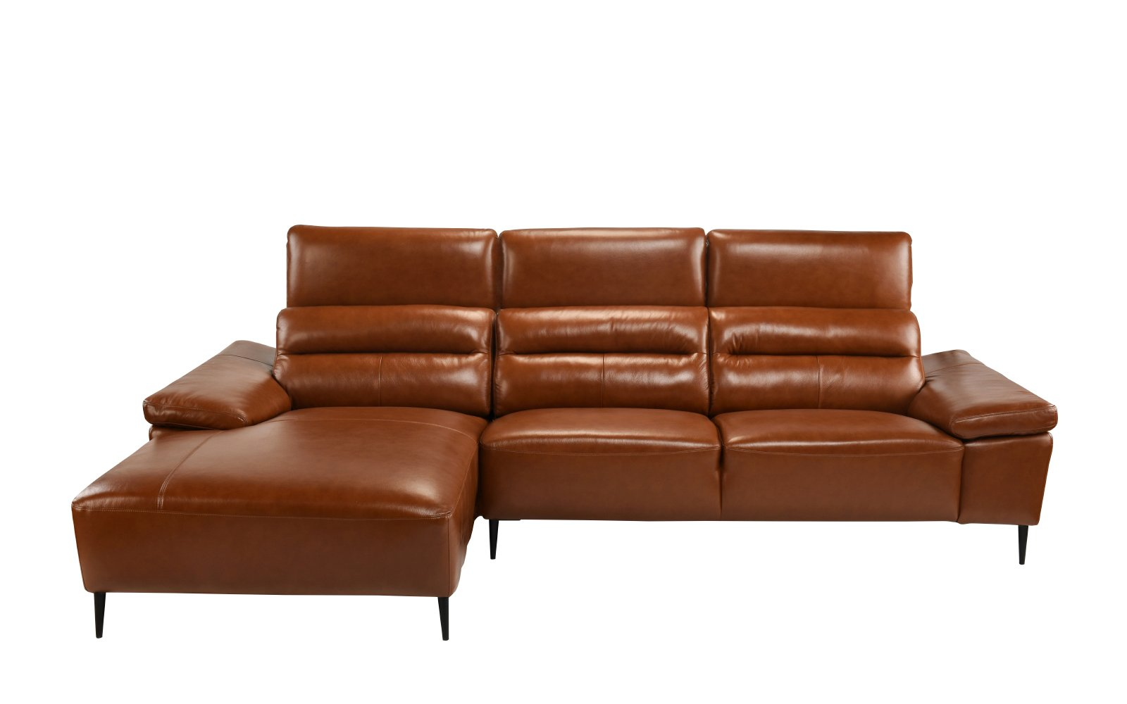 Classic Low Profile Sectional Couch With Left Chaise Leather Match