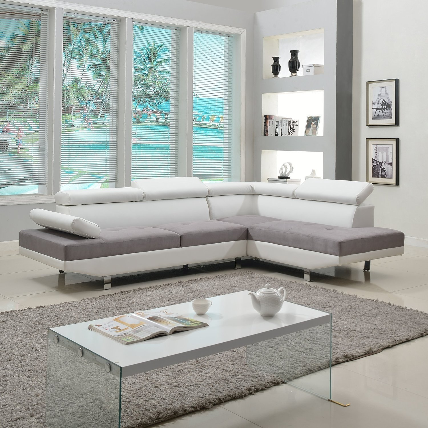 Details About Modern Contemporary Design 2 Tone Microfiber Bonded Leather Sectional Sofa White